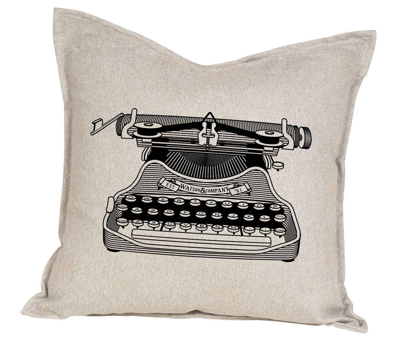 Hendrick Typewriter Cotton Throw Pillow