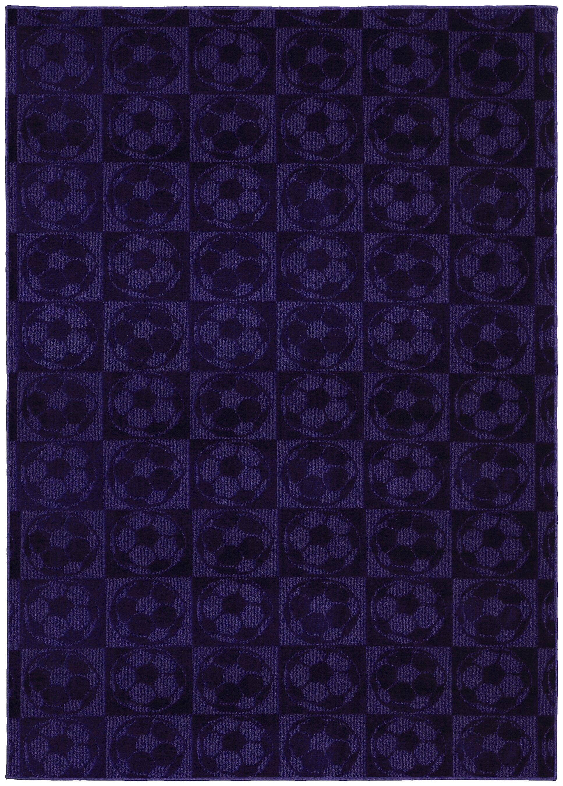 Sports Balls Purple Area Rug Rug Size: 5' x 7'