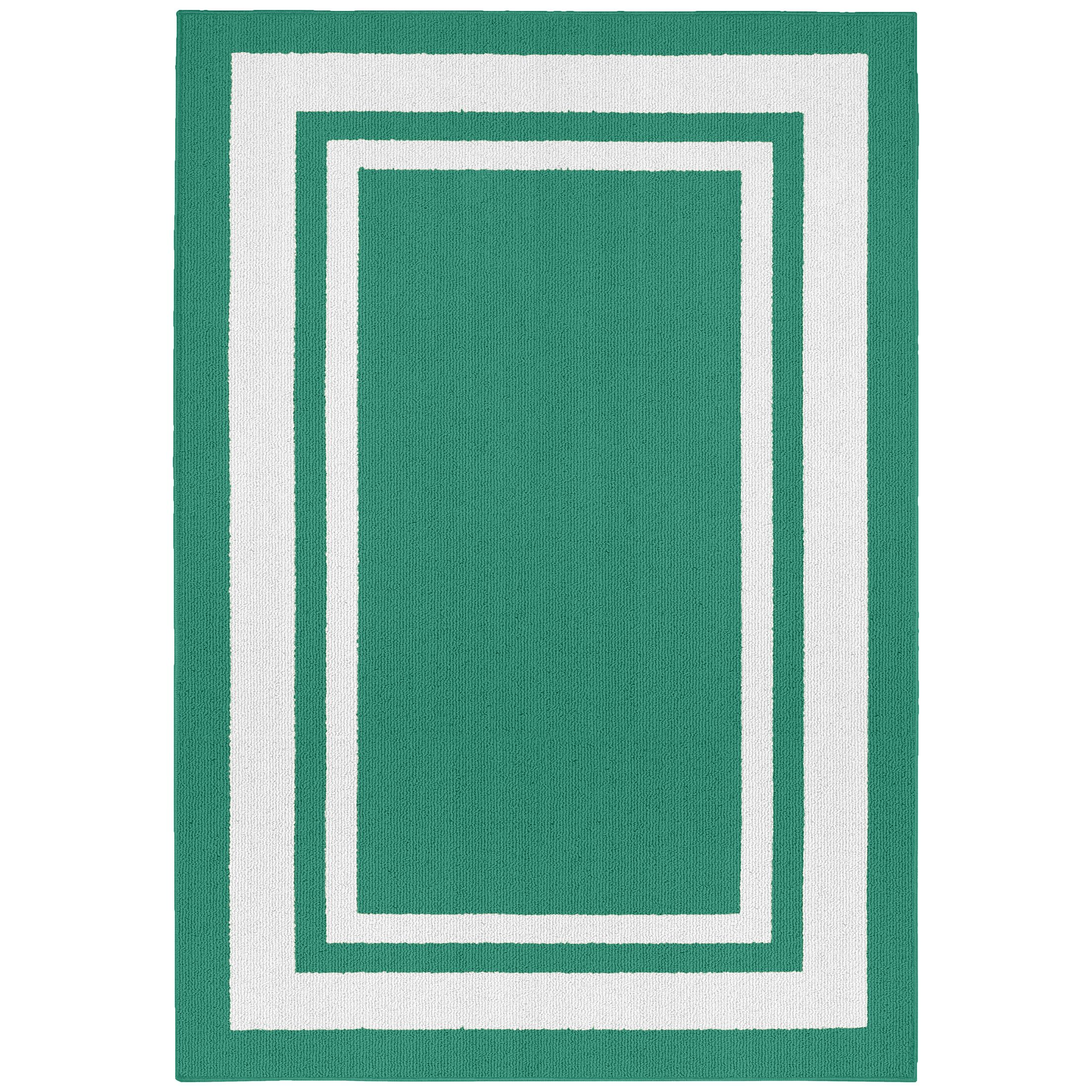 Ginger Green/White Indoor/Outdoor Area Rug Rug Size: 2' x 5'