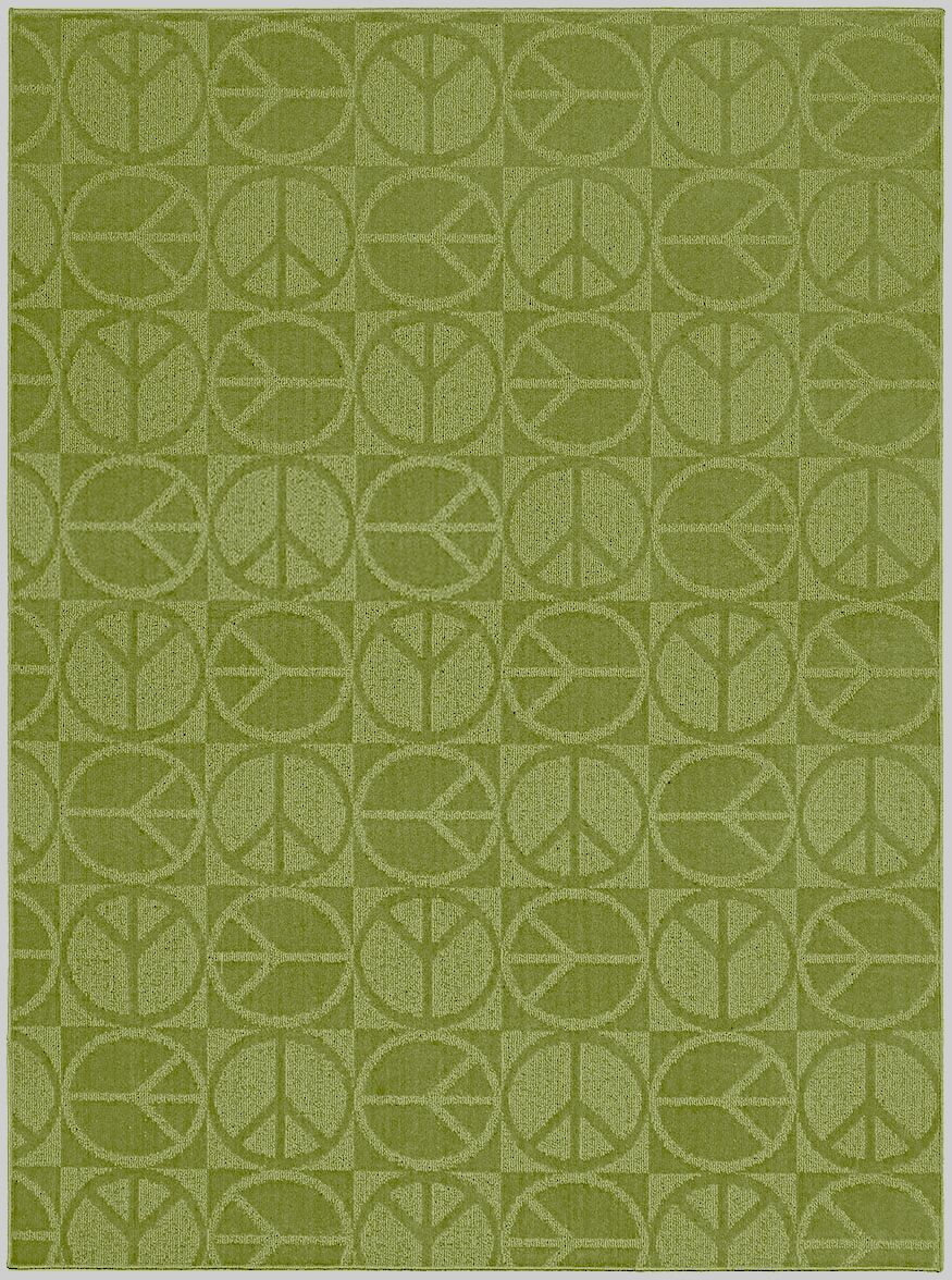 Lime Large Peace Indoor/Outdoor Area Rug Rug Size: 5' x 7'