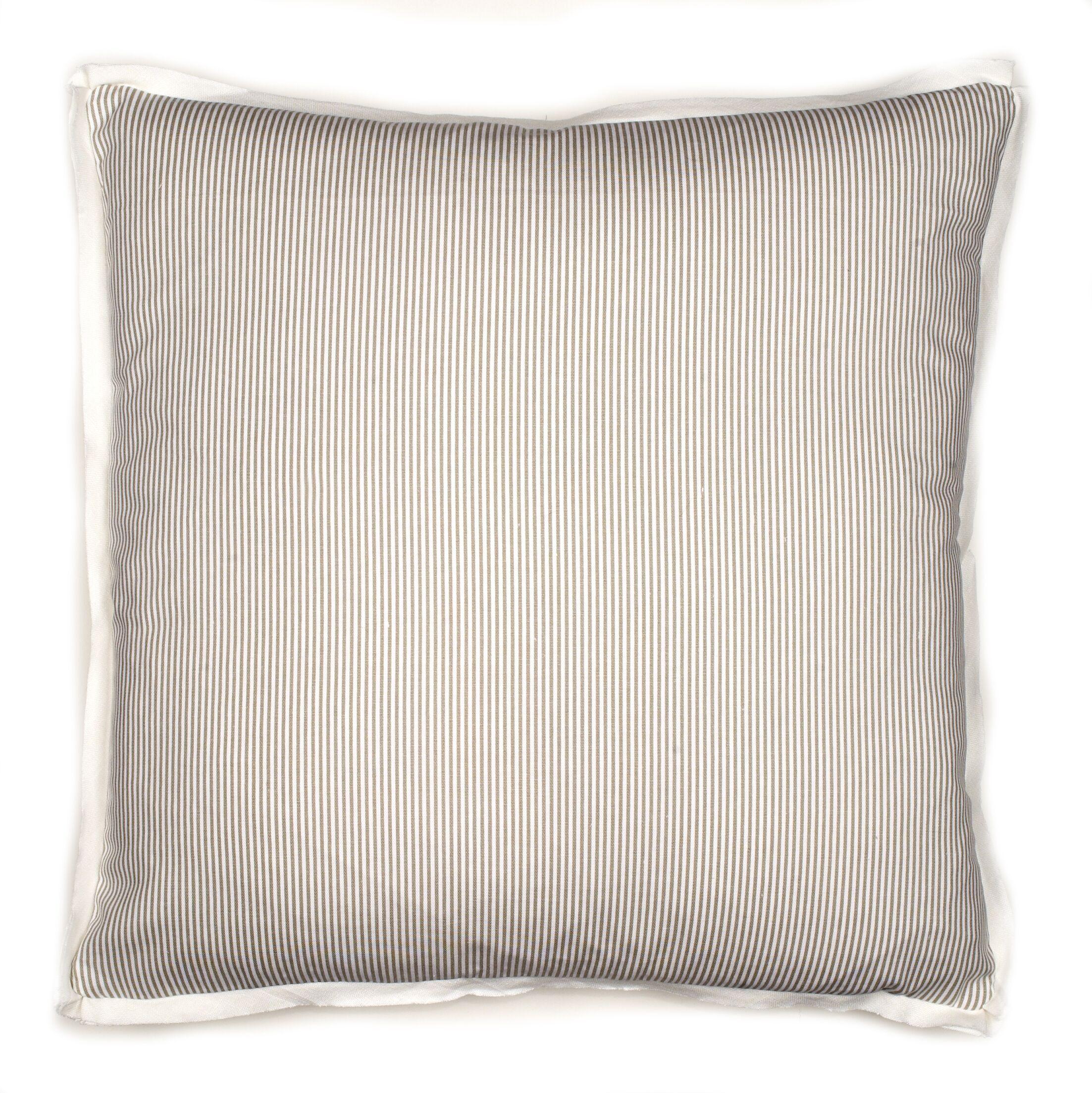 Augusta Pinstripe Cotton Throw Pillow Color: Grey