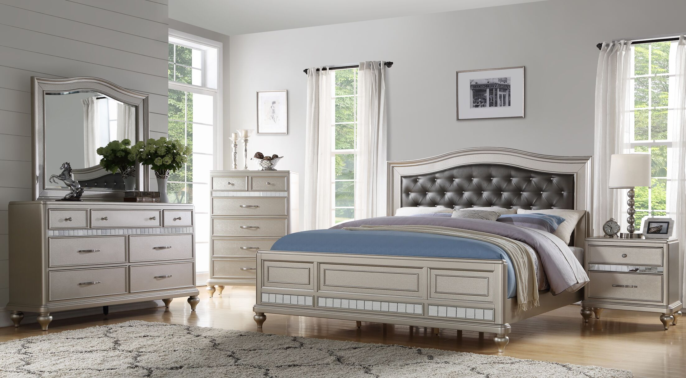 Noble 3 Piece Bedroom Set Bed Size: King