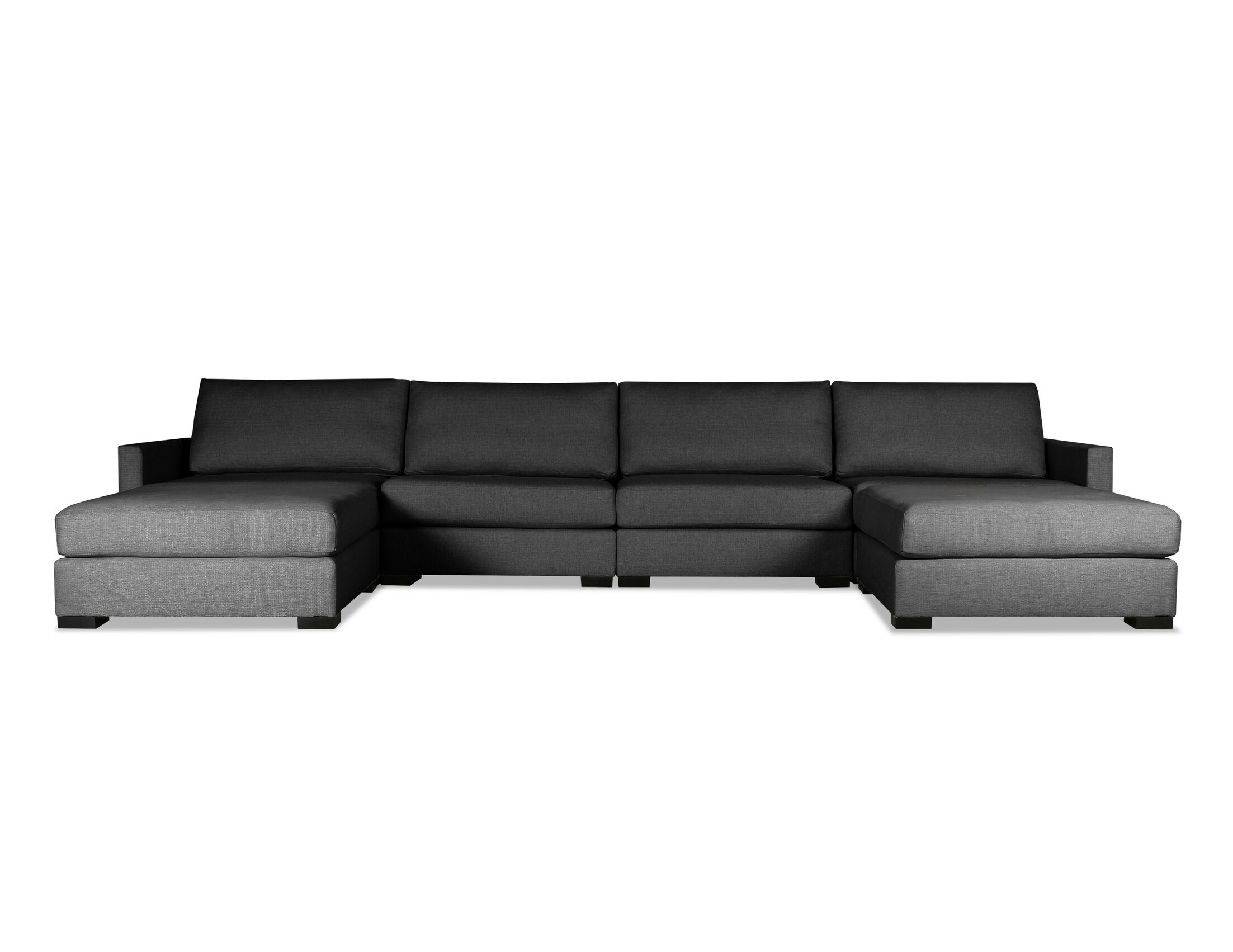 Secrest Plush Deep Modular Sectional with Ottoman Upholstery: Charcoal