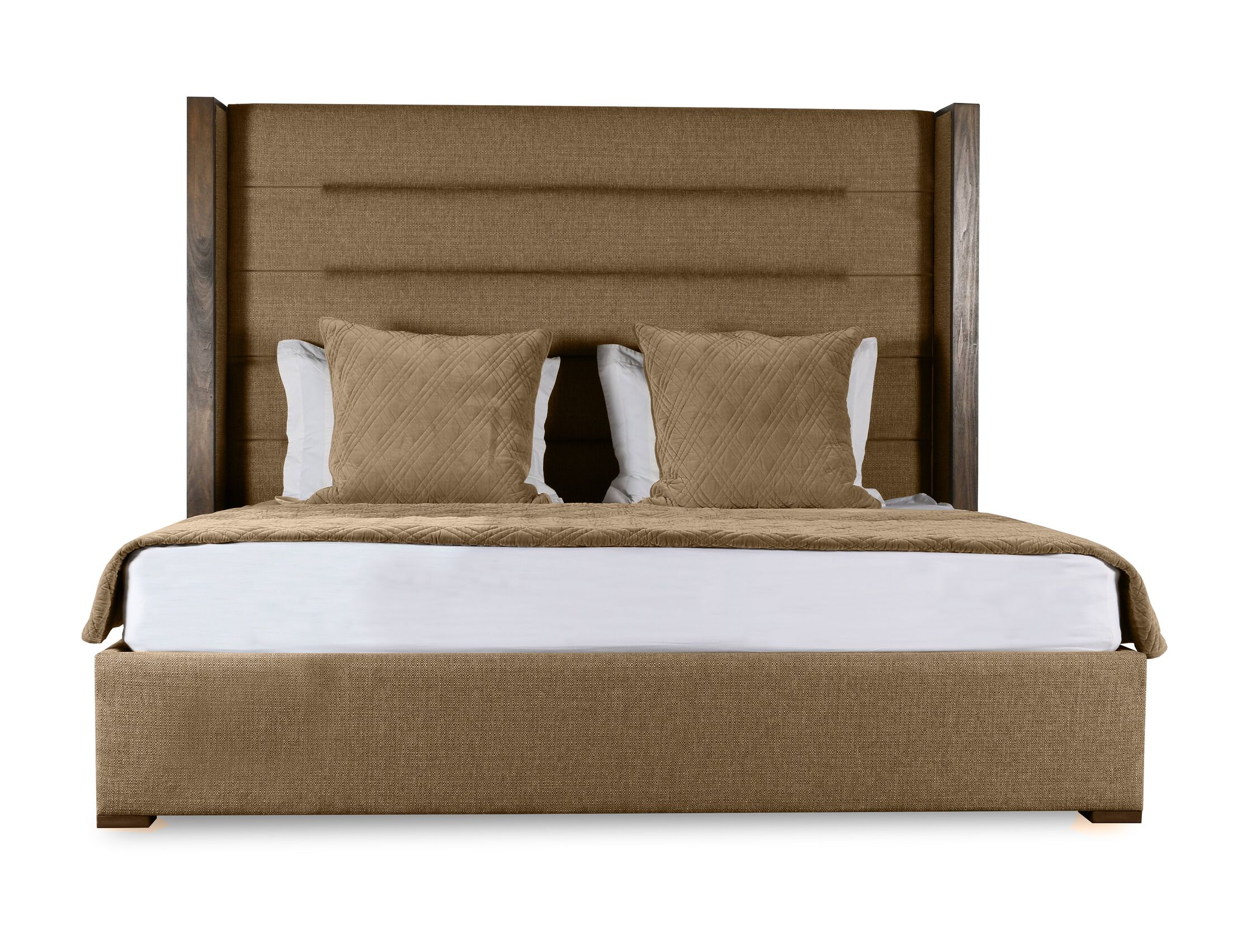 Hank Upholstered Panel Bed Color: Brown, Size: High Height Queen