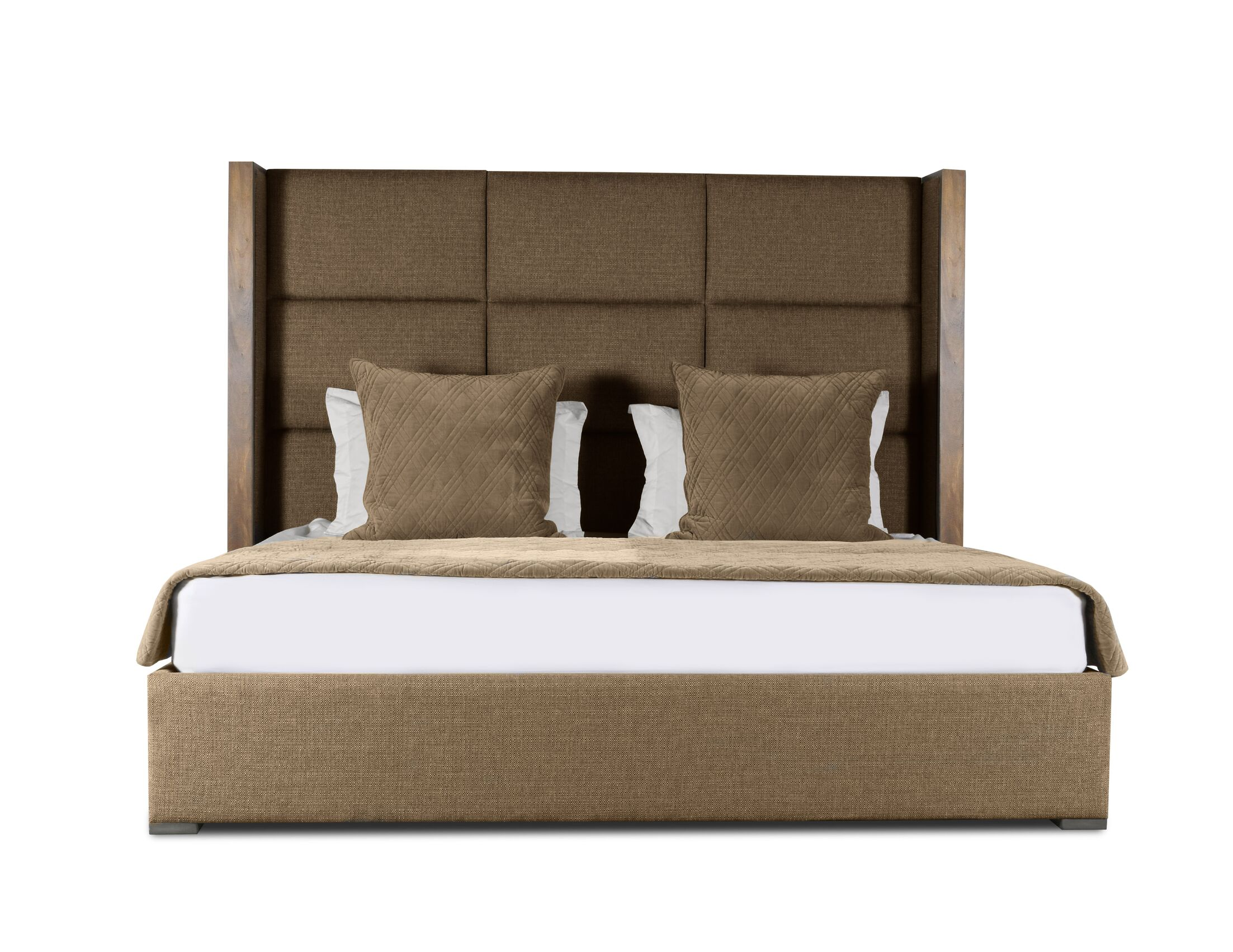 Hank Upholstered Panel Bed Color: Brown, Size: High Height California King