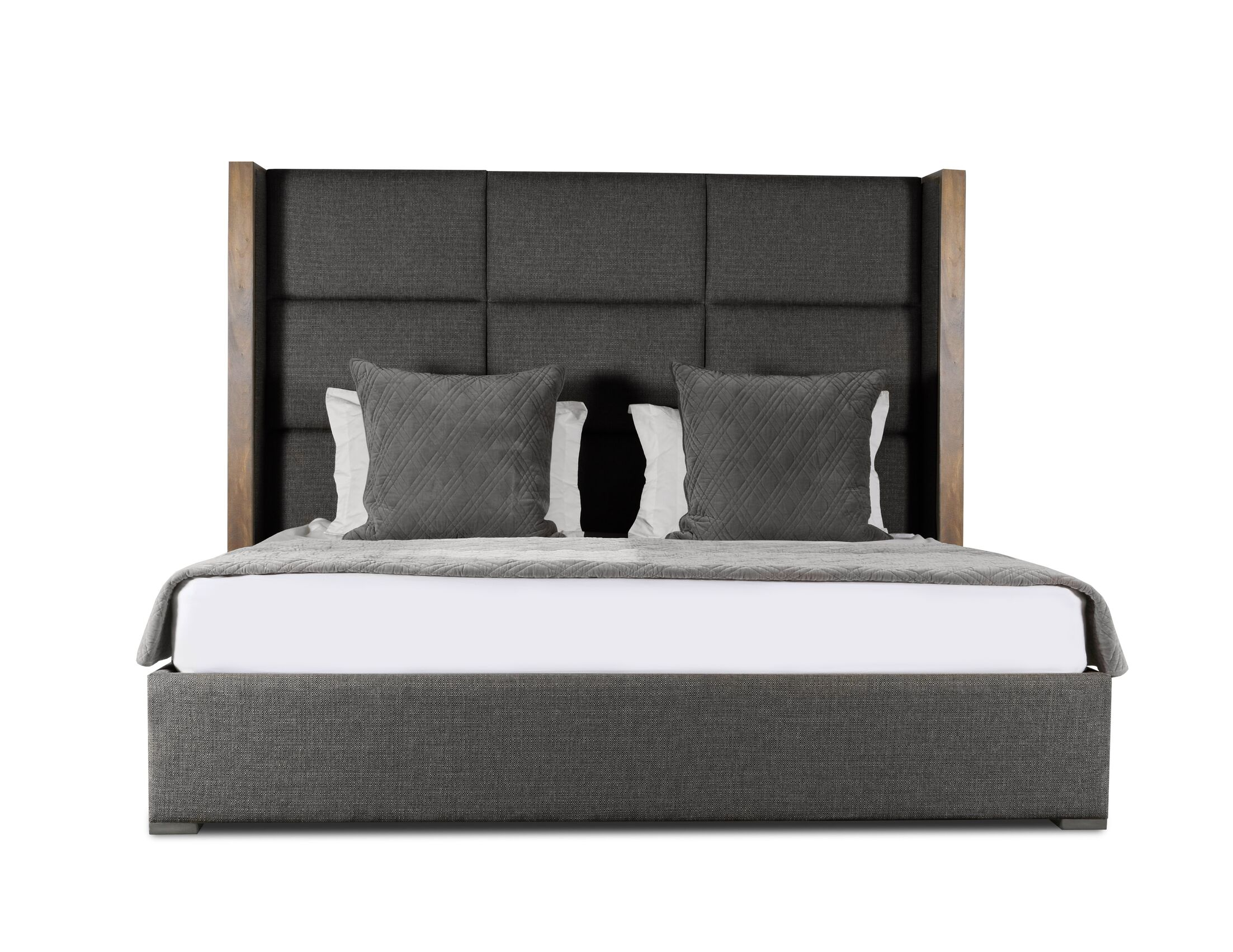Hank Upholstered Panel Bed Color: Charcoal, Size: High Height Queen