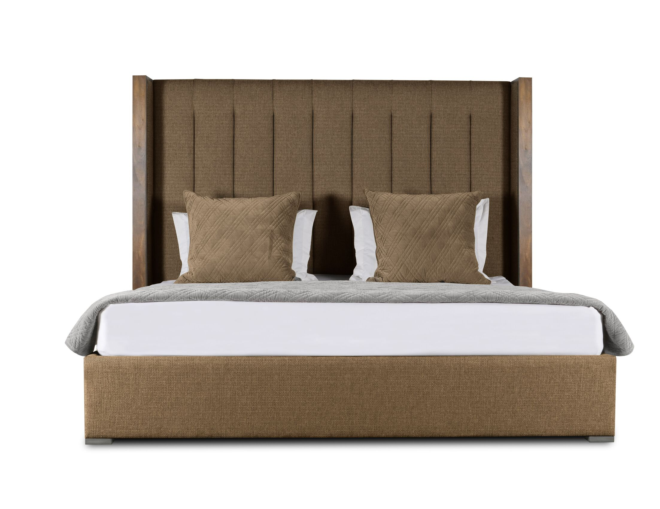 Hank Vertical Channel Tufting Upholstered Platform Bed Color: Brown, Size: High Height Queen