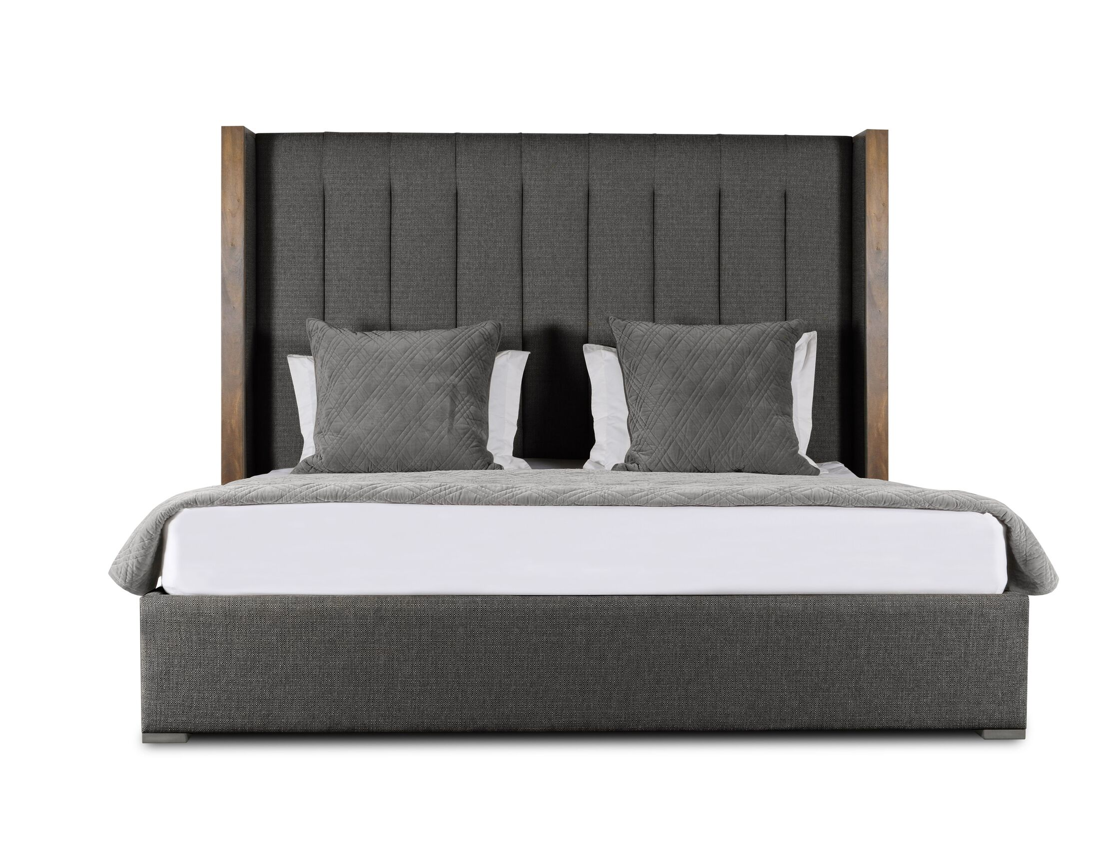 Hank Vertical Channel Tufting Upholstered Platform Bed Color: Charcoal, Size: High Height Queen