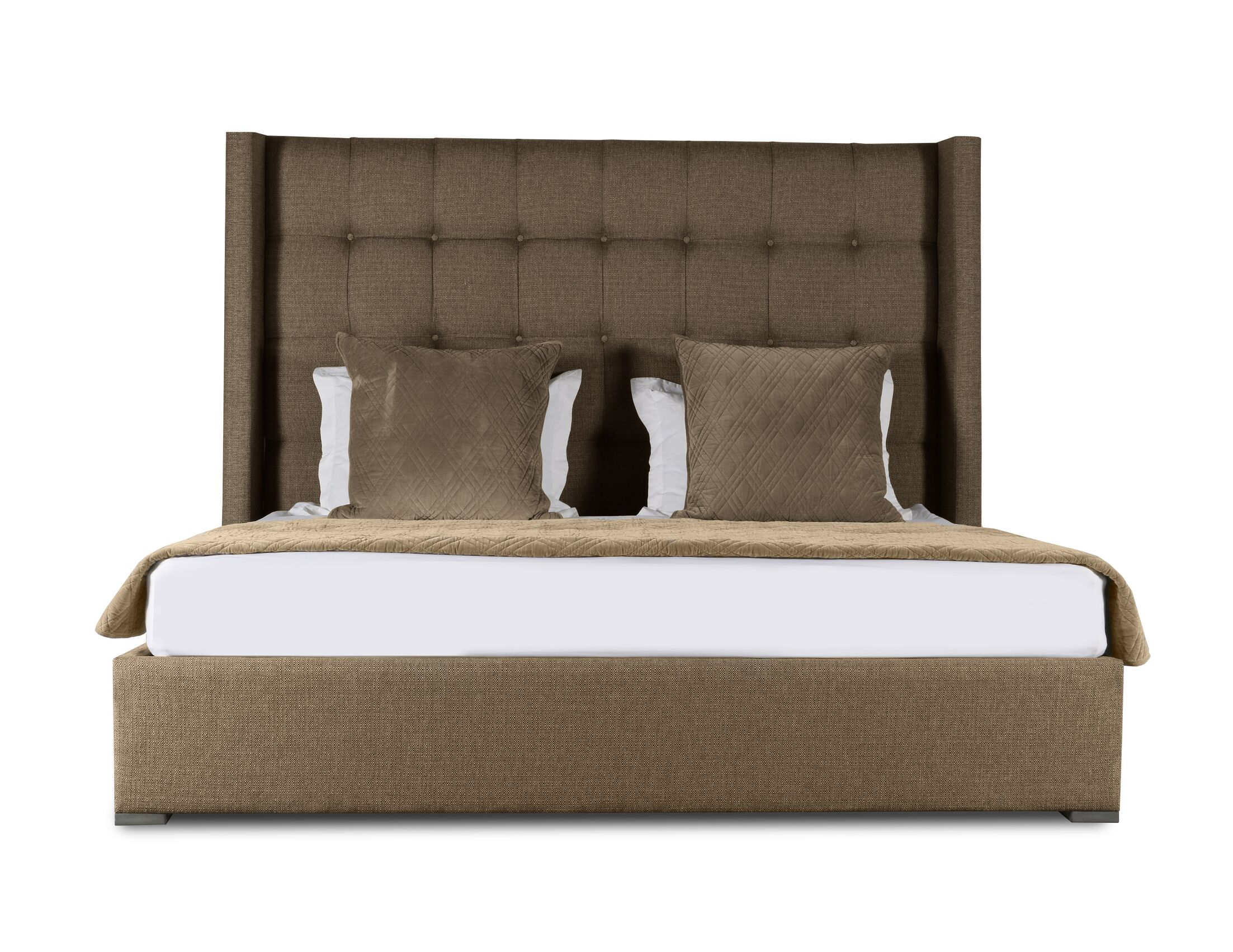 Half Moon Bay Upholstered Panel Bed Color: Brown, Size: Mid Height King