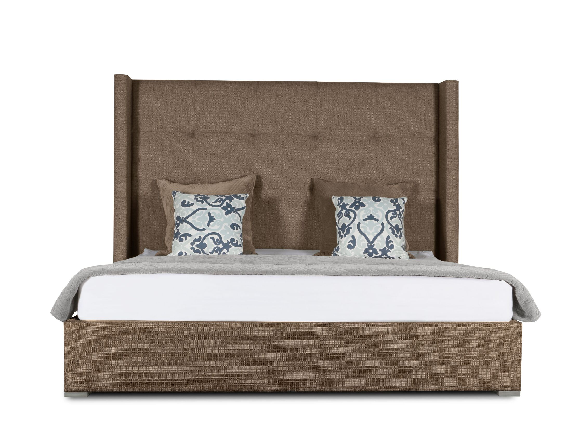Hansen Upholstered Platform Bed Color: Brown, Size: High Height Queen