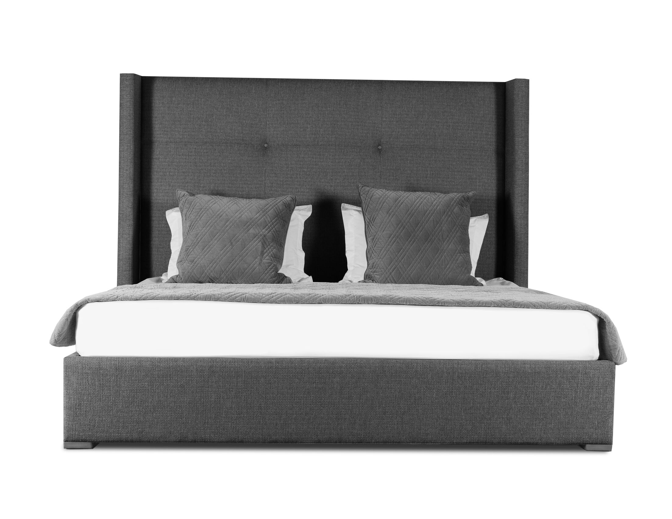 Hansen Upholstered Panel Bed Color: Charcoal, Size: Mid Height King