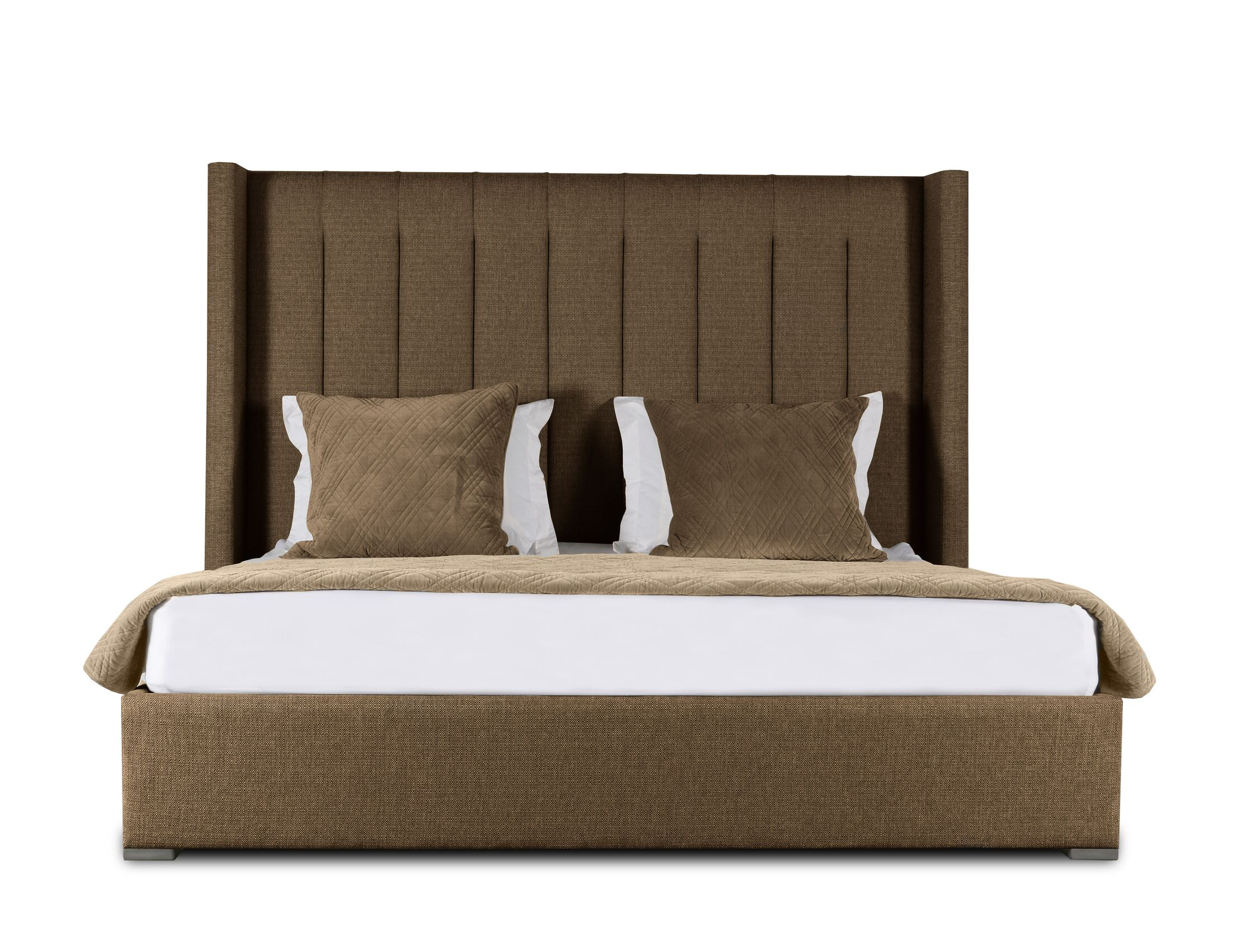 Hansen Upholstered Panel Bed Color: Brown, Size: Mid Height California King