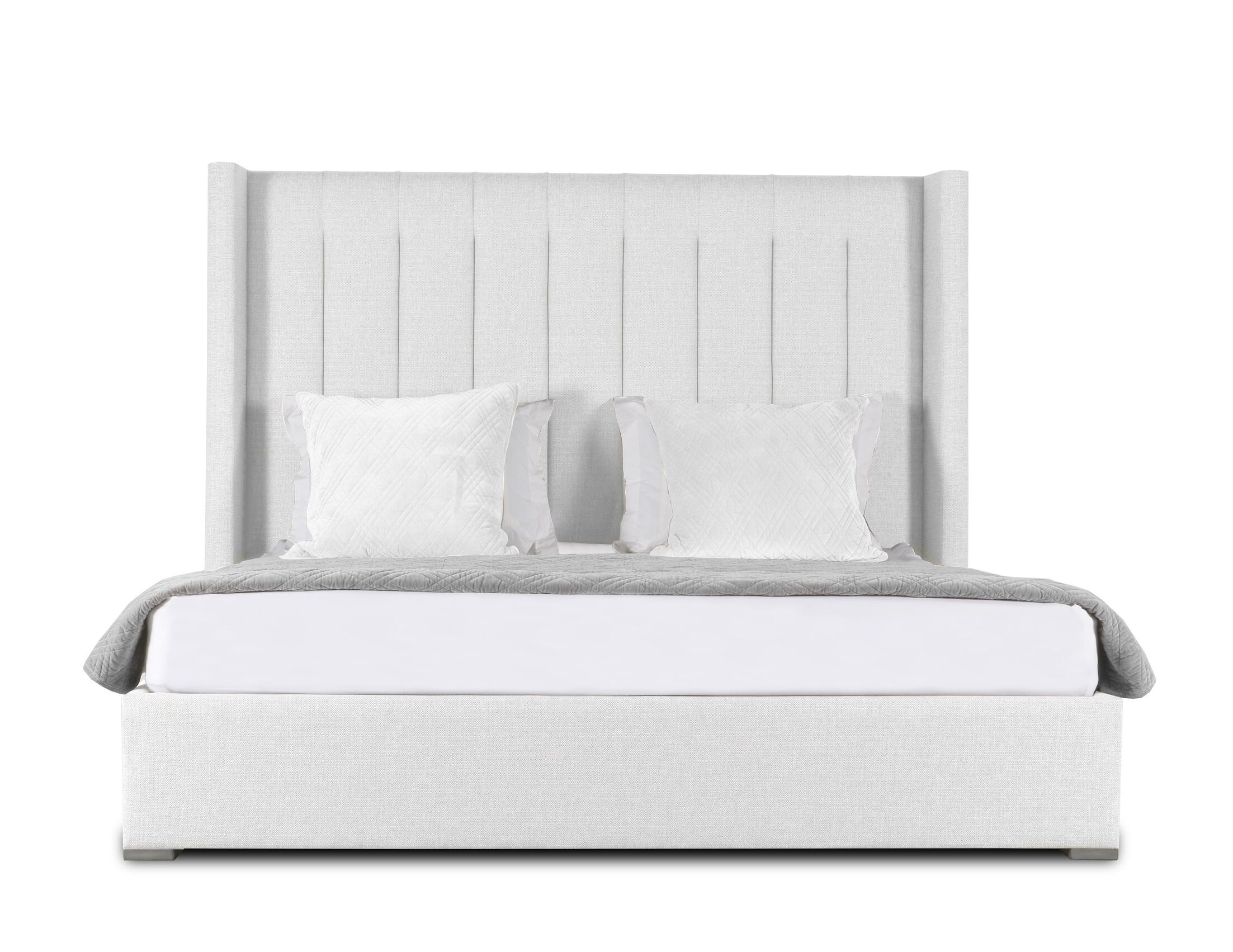 Hansen Upholstered Panel Bed Size: High Height Queen, Color: White