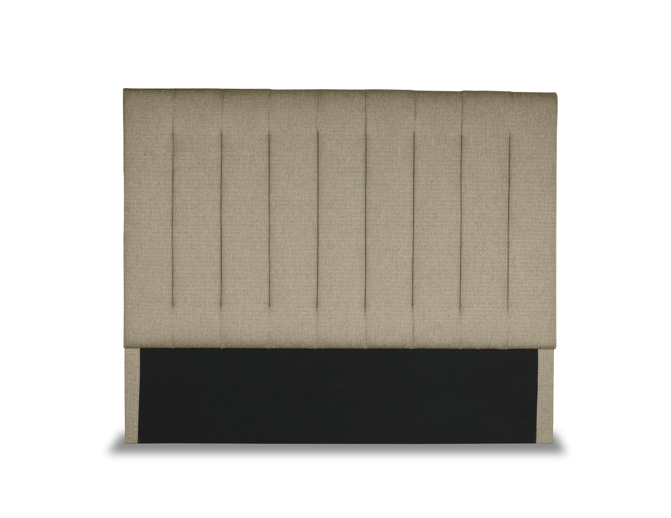 Handley Vertical Channel Tufting Upholstered Wingback Headboard Size: Mid Height Queen, Color: Sand