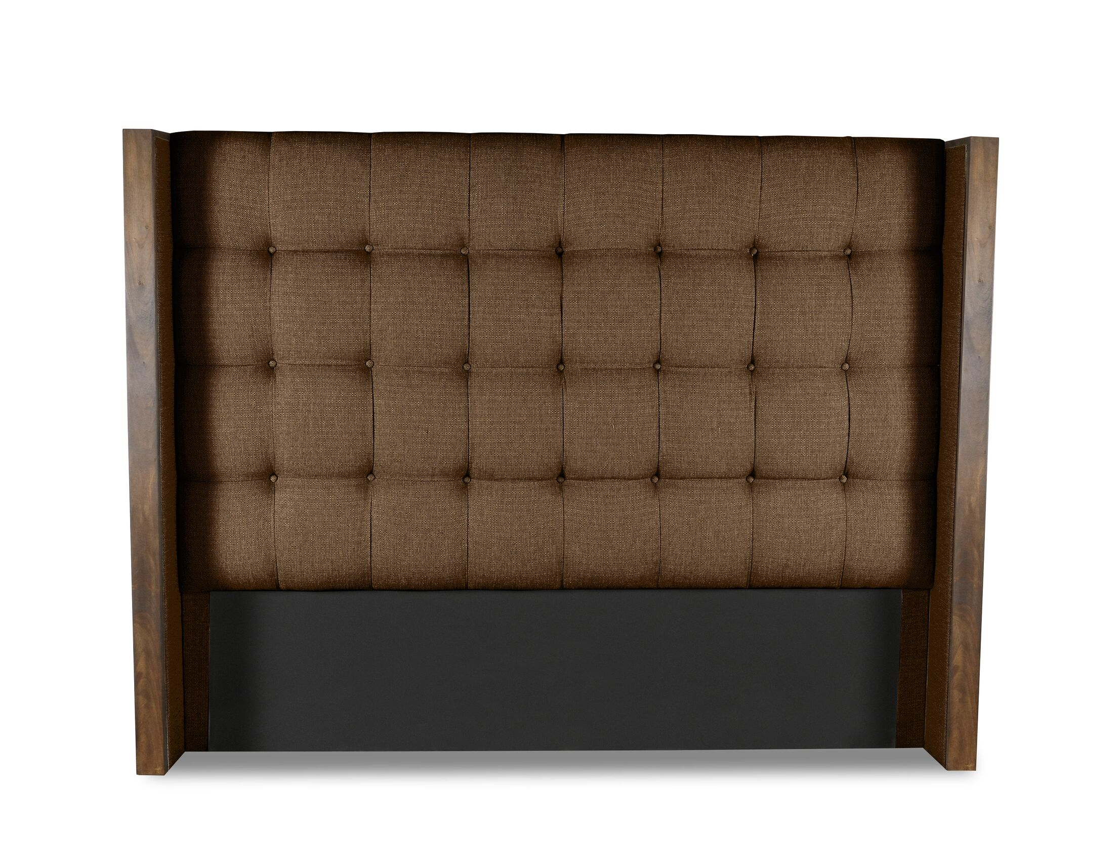 Hank Box Tufting Upholstered Wingback Headboard Color: Brown, Size: Mid Height King
