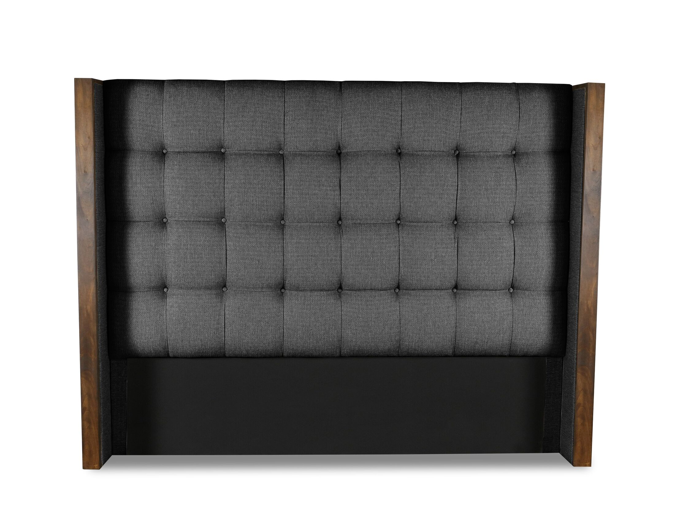 Hank Box Tufting Upholstered Wingback Headboard Color: Charcoal, Size: High Height King