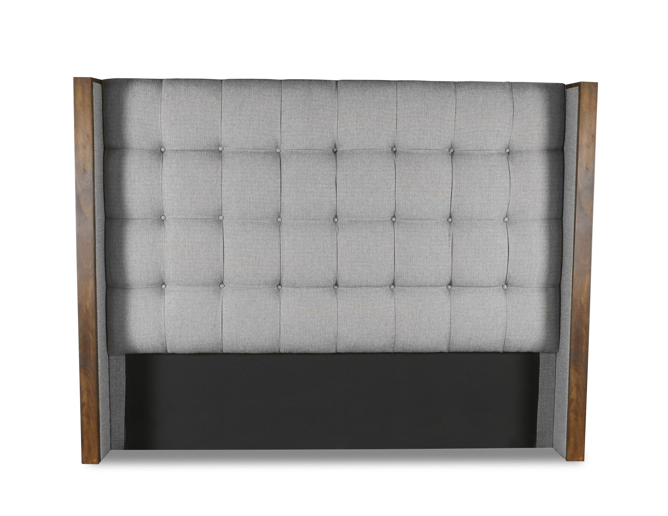 Hank Box Tufting Upholstered Wingback Headboard Color: Gray, Size: High Height Queen