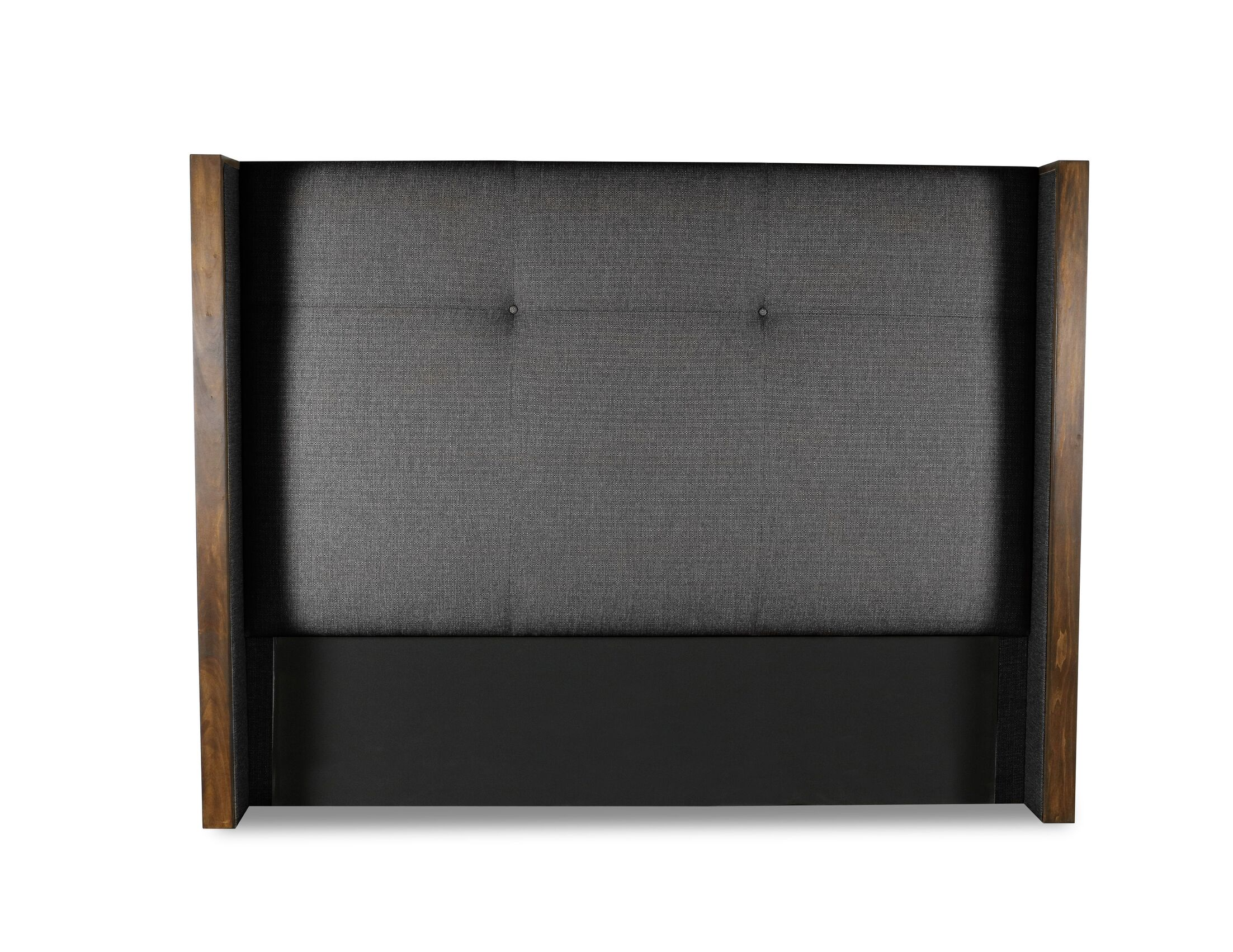 Hank Simple Tufted Upholstered Wingback Headboard Color: Charcoal, Size: Mid Height King