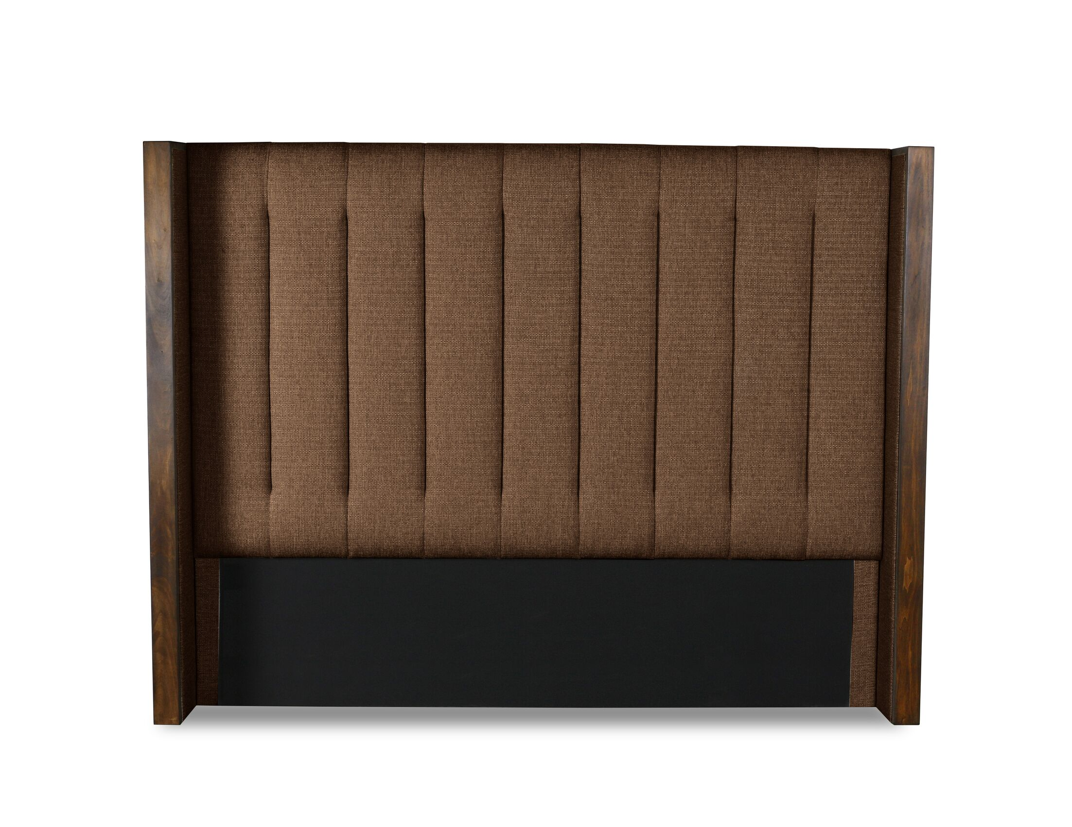 Hank Vertical Channel Tufting Upholstered Wingback Headboard Color: Brown, Size: Mid Height Queen