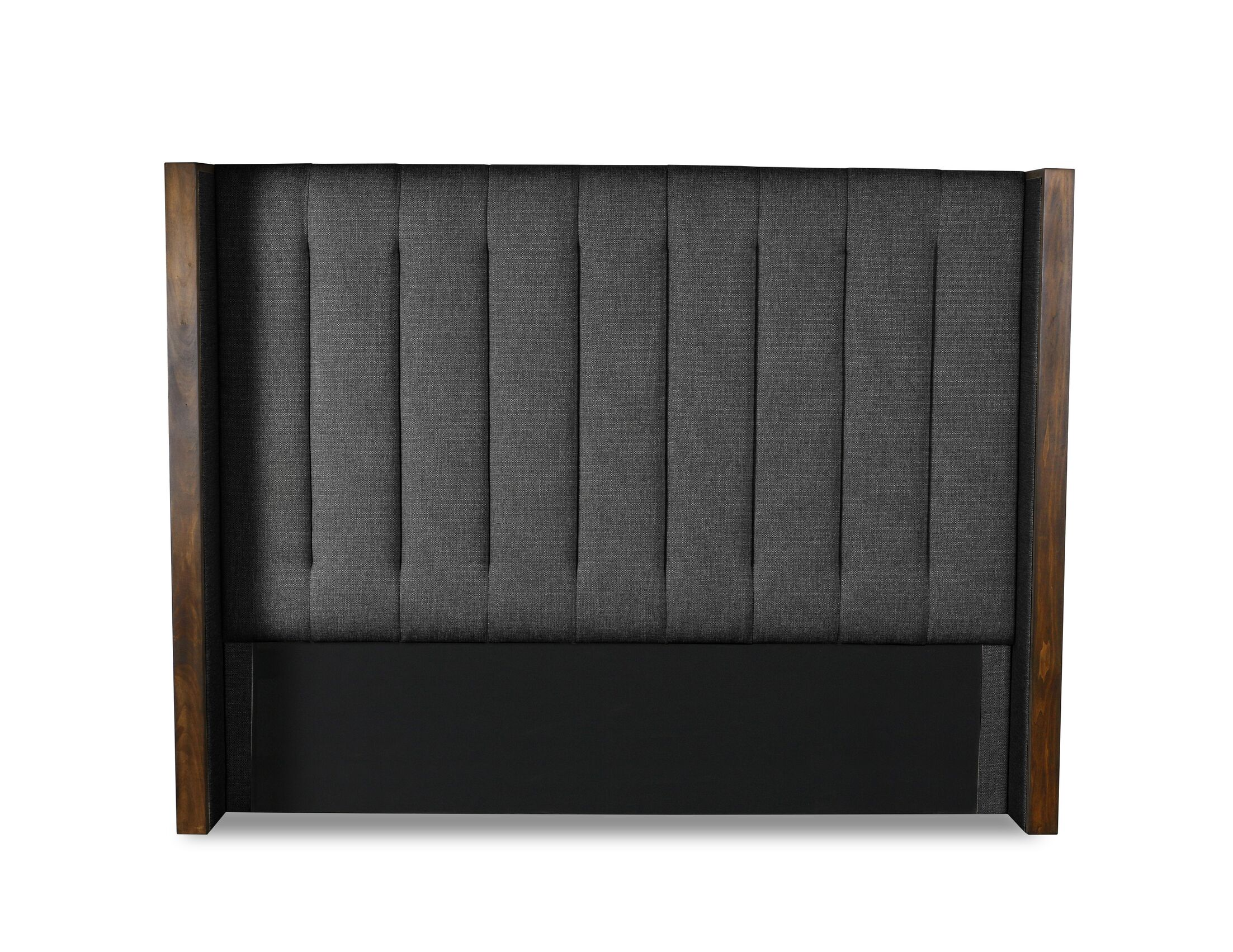 Hank Vertical Channel Tufting Upholstered Wingback Headboard Color: Charcoal, Size: Mid Height California King