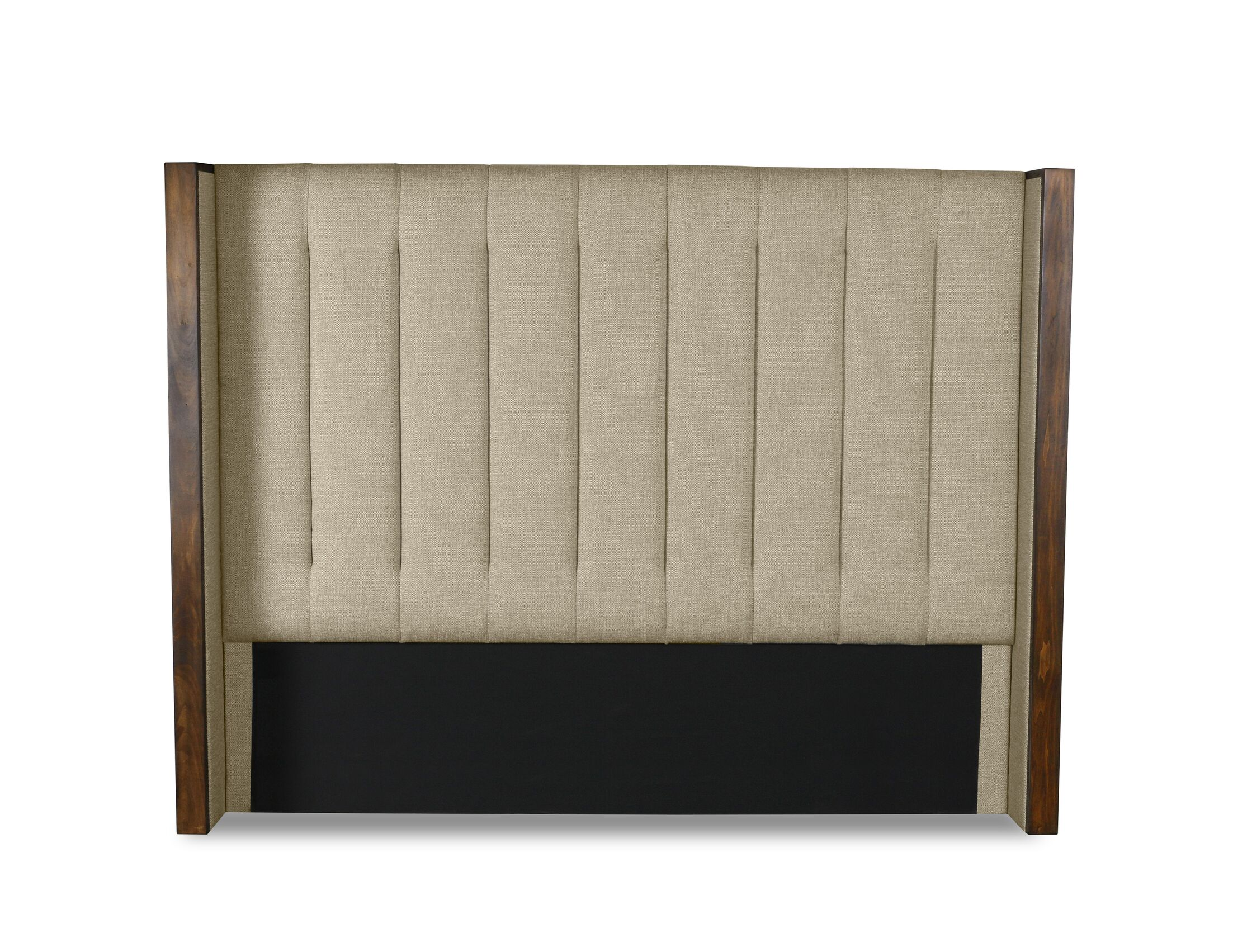 Hank Vertical Channel Tufting Upholstered Wingback Headboard Size: High Height California King, Color: Sand