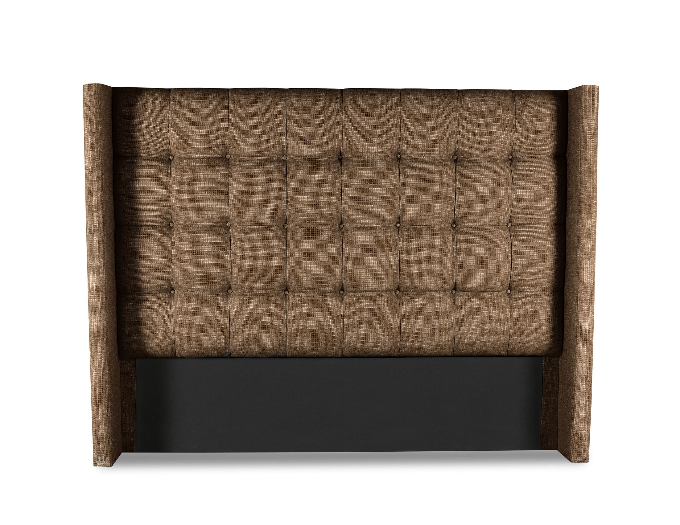 Esters Winged Box Tufting Upholstered Wingback Headboard Color: Brown, Size: Mid Height California King
