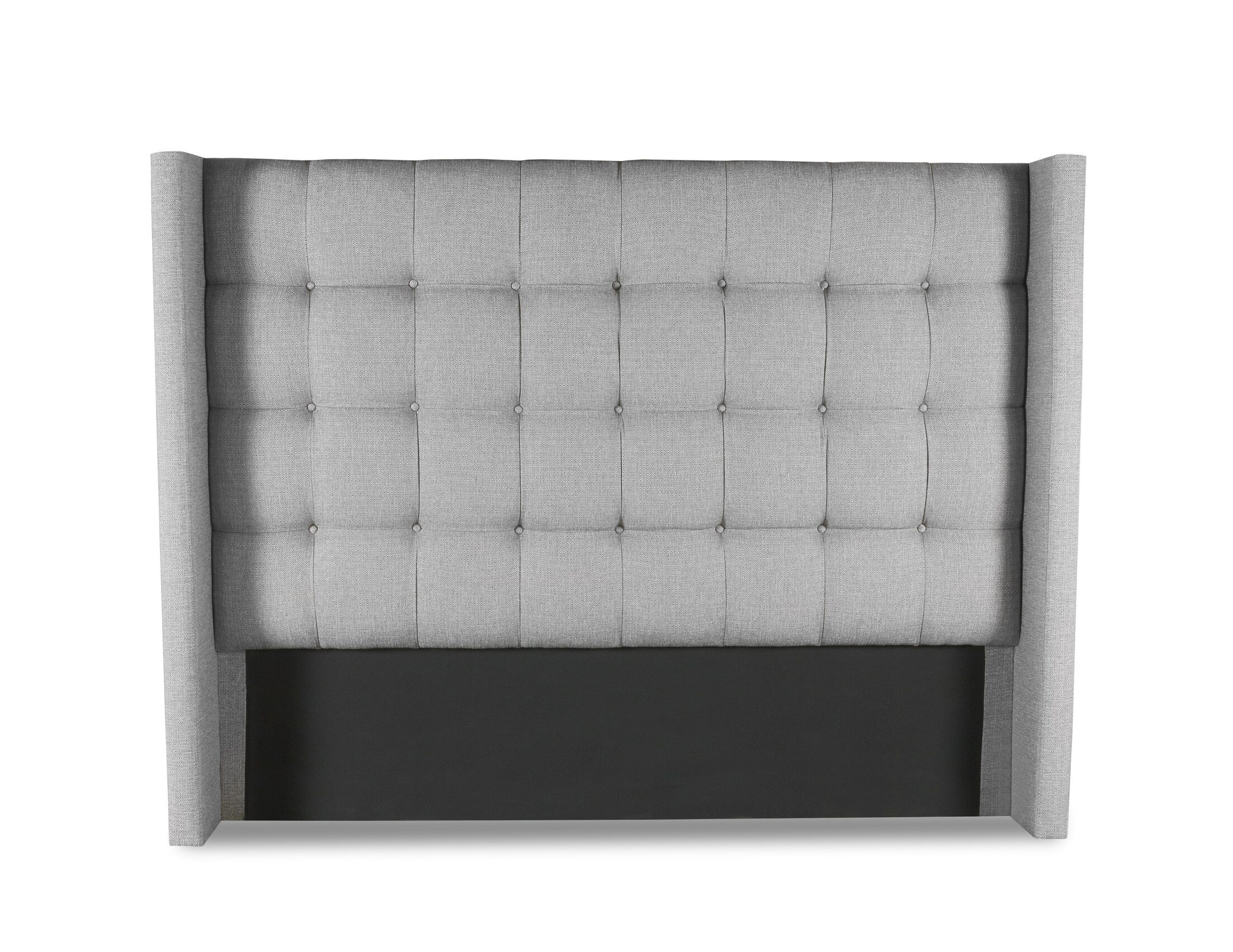 Esters Winged Box Tufting Upholstered Wingback Headboard Color: Gray, Size: High Height California King