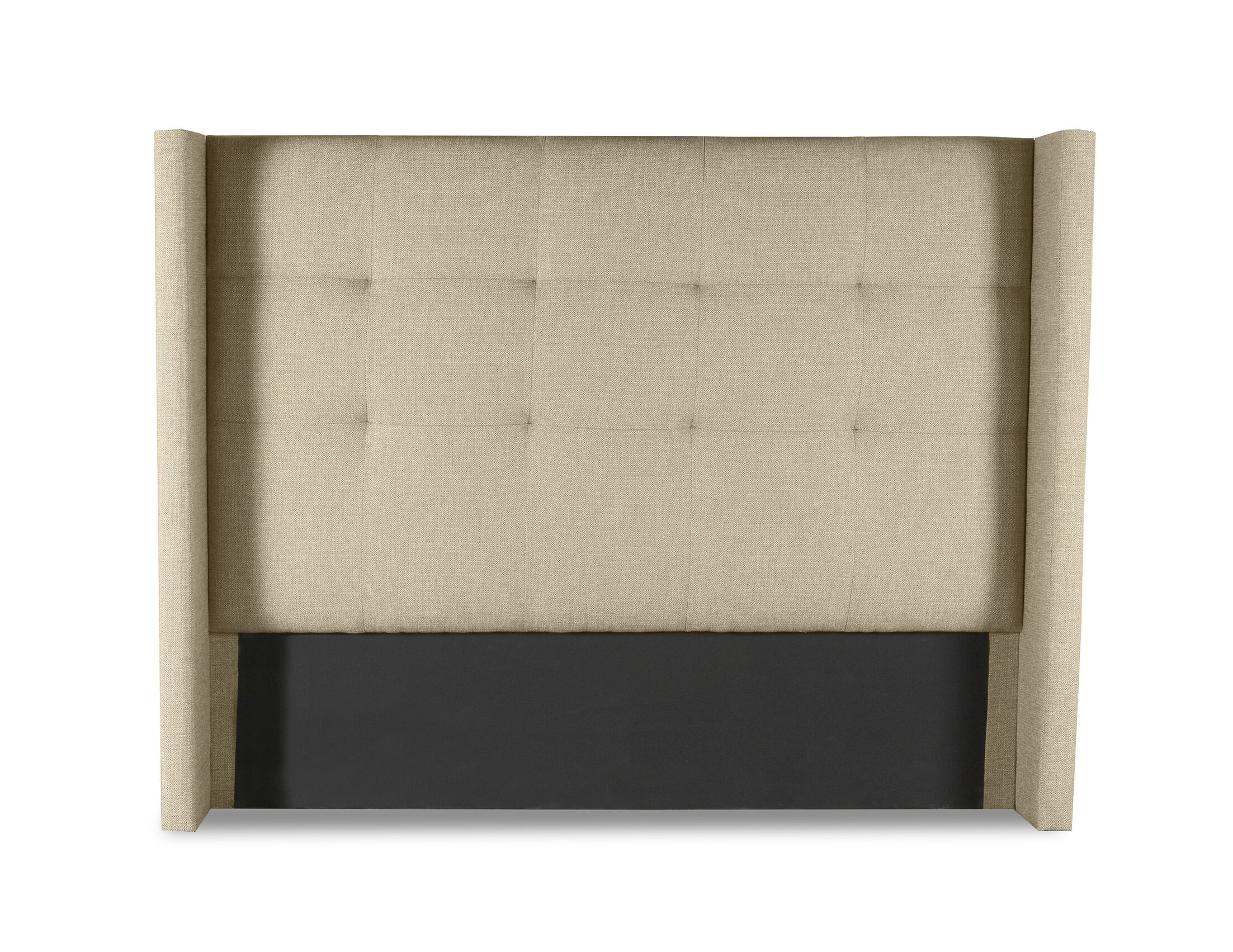 Hansen Button Tufted Upholstered Wingback Headboard Size: Mid Height Queen, Color: Sand