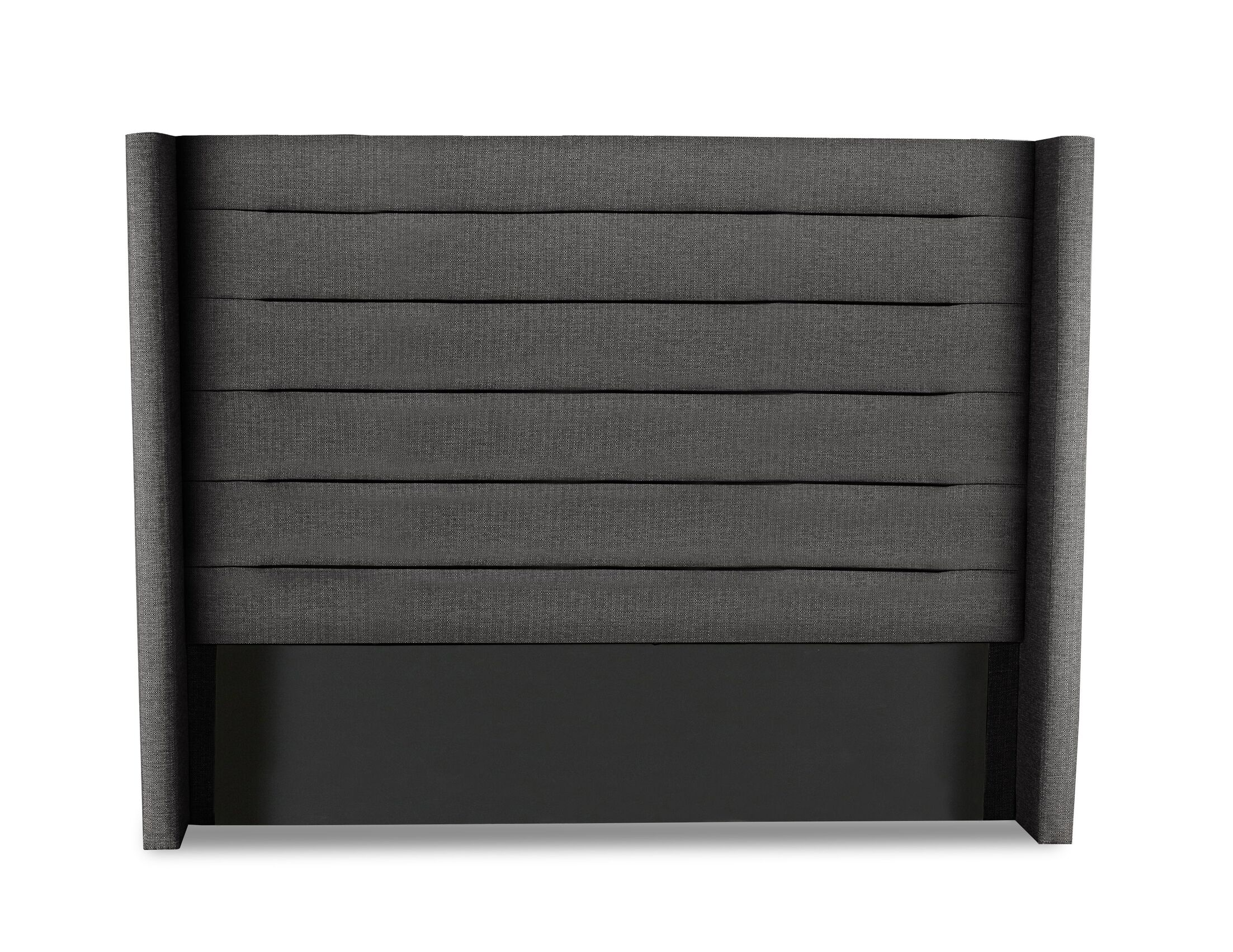 Hansen Horizontal Channel Tufting Upholstered Wingback Headboard Color: Charcoal, Size: High Height California King