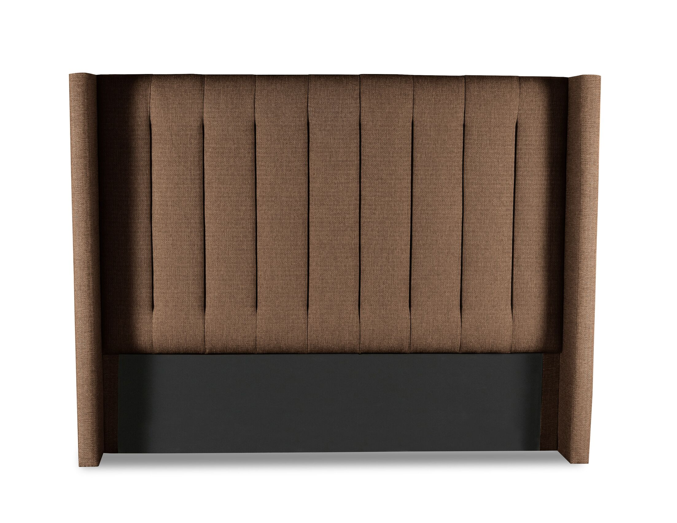 Hansen Vertical Channel Tufting Upholstered Wingback Headboard Color: Brown, Size: Mid Height King