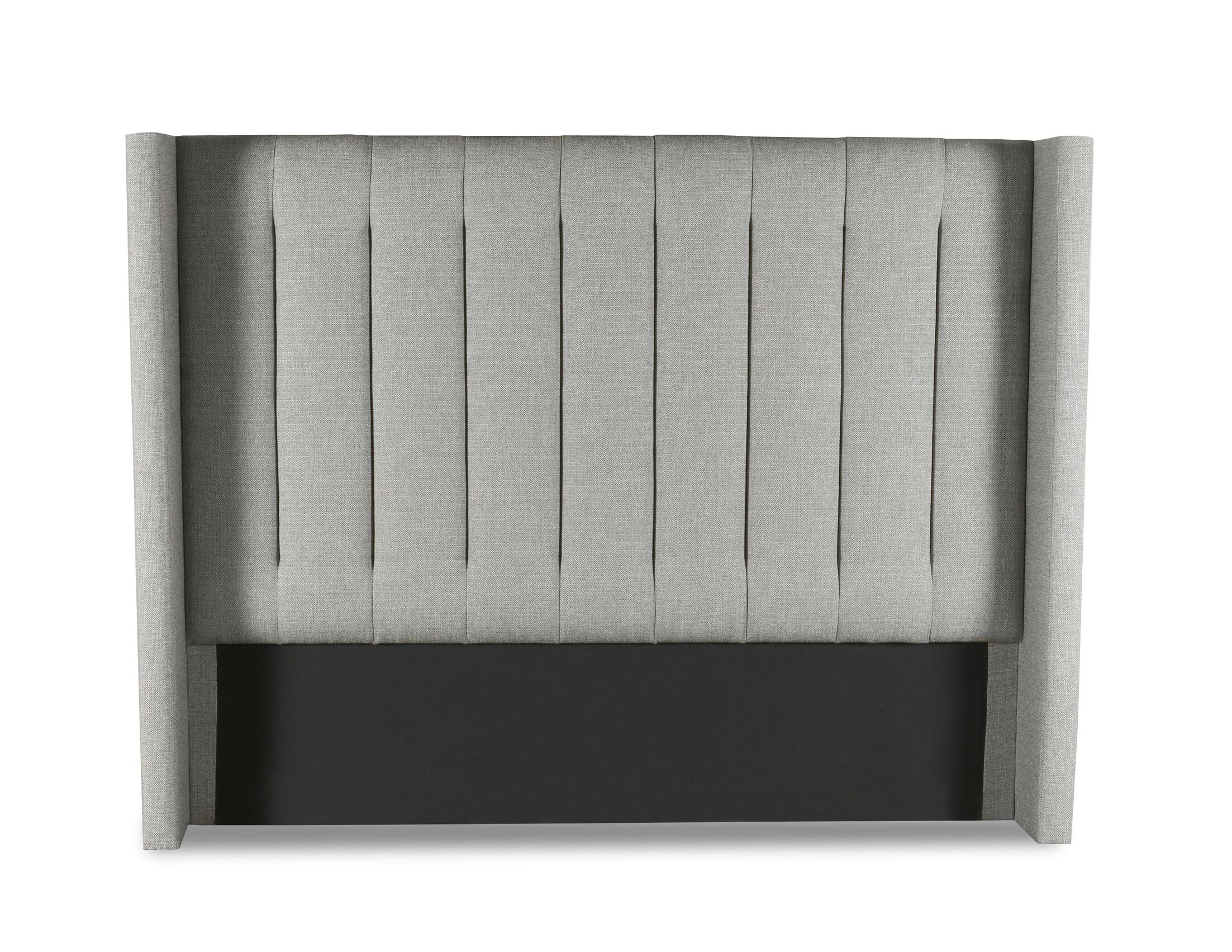 Hansen Vertical Channel Tufting Upholstered Wingback Headboard Color: Gray, Size: Mid Height California King