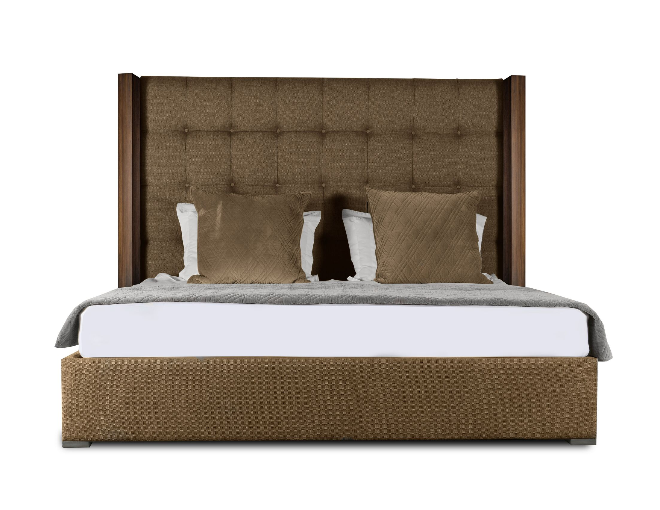 Harborcreek Upholstered Panel Bed Color: Brown, Size: Mid Height King