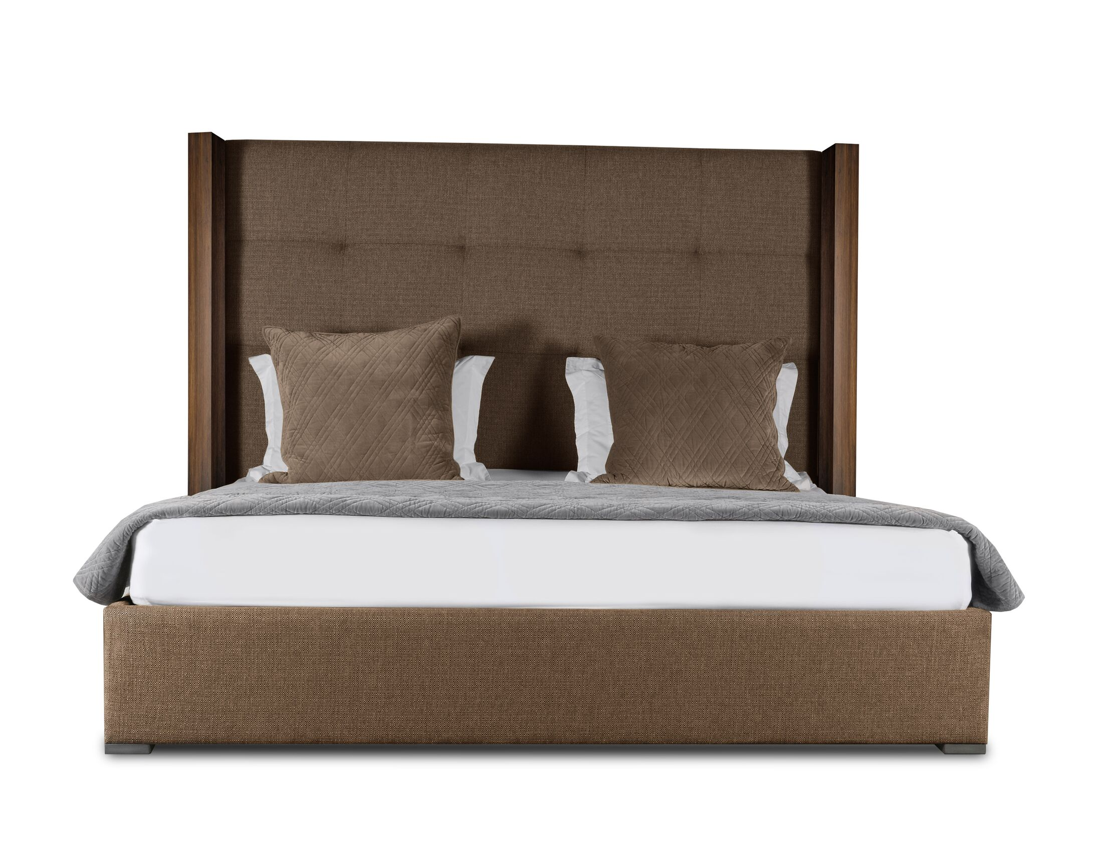 Harborcreek Button Tufted Upholstered Platform Bed Color: Brown, Size: Mid Height California King
