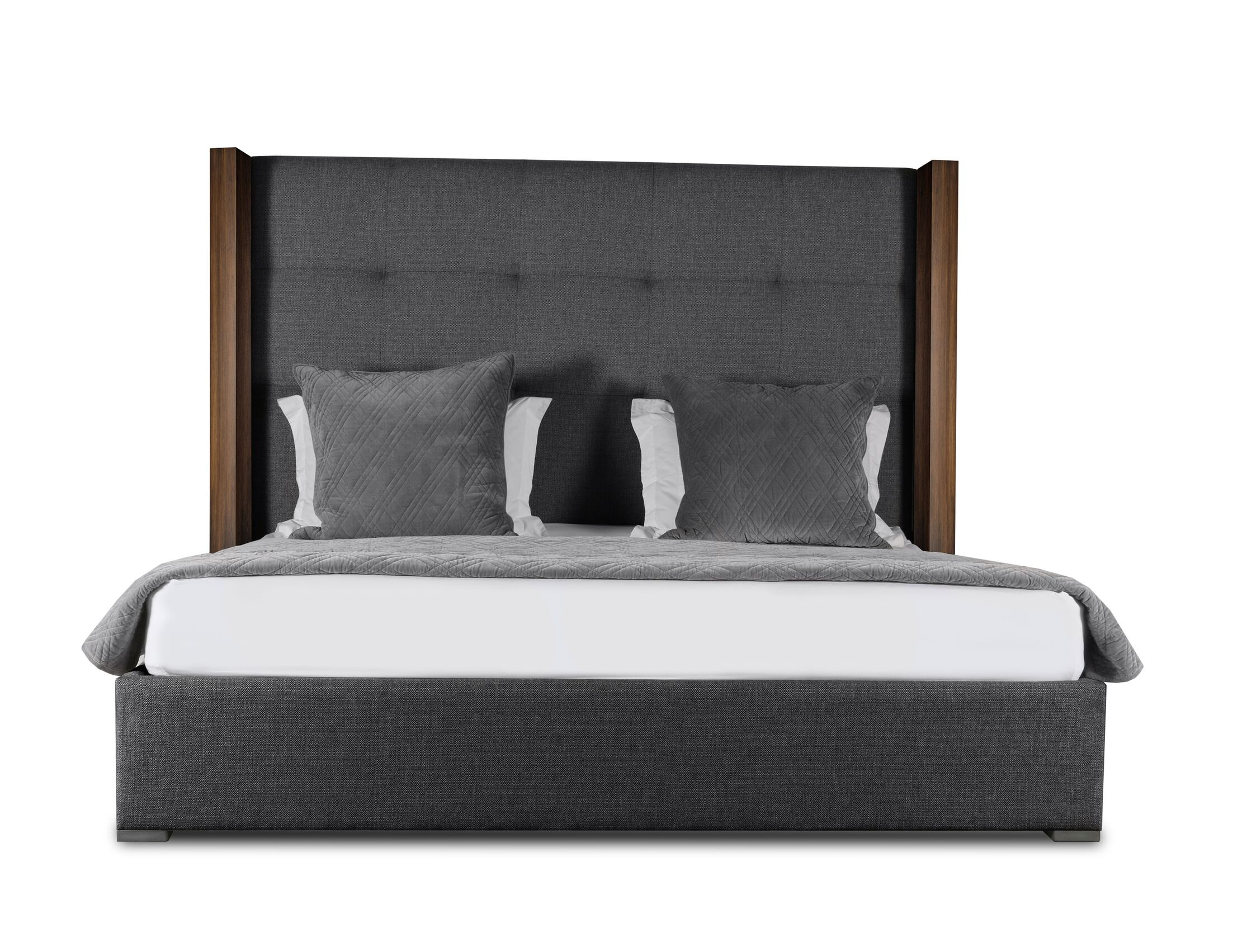 Harborcreek Button Tufted Upholstered Platform Bed Color: Charcoal, Size: High Height King