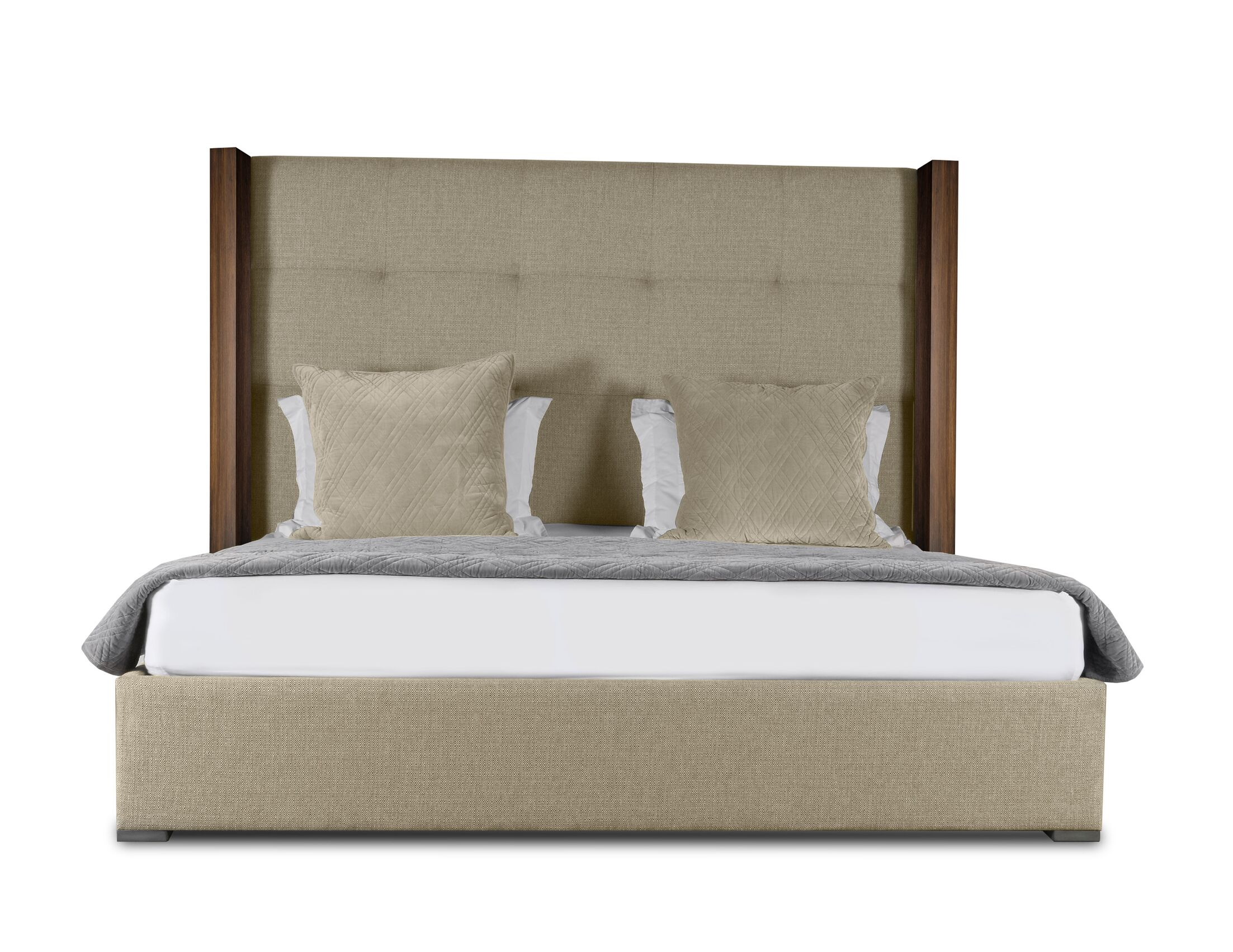 Harborcreek Button Tufted Upholstered Platform Bed Size: High Height California King, Color: Sand