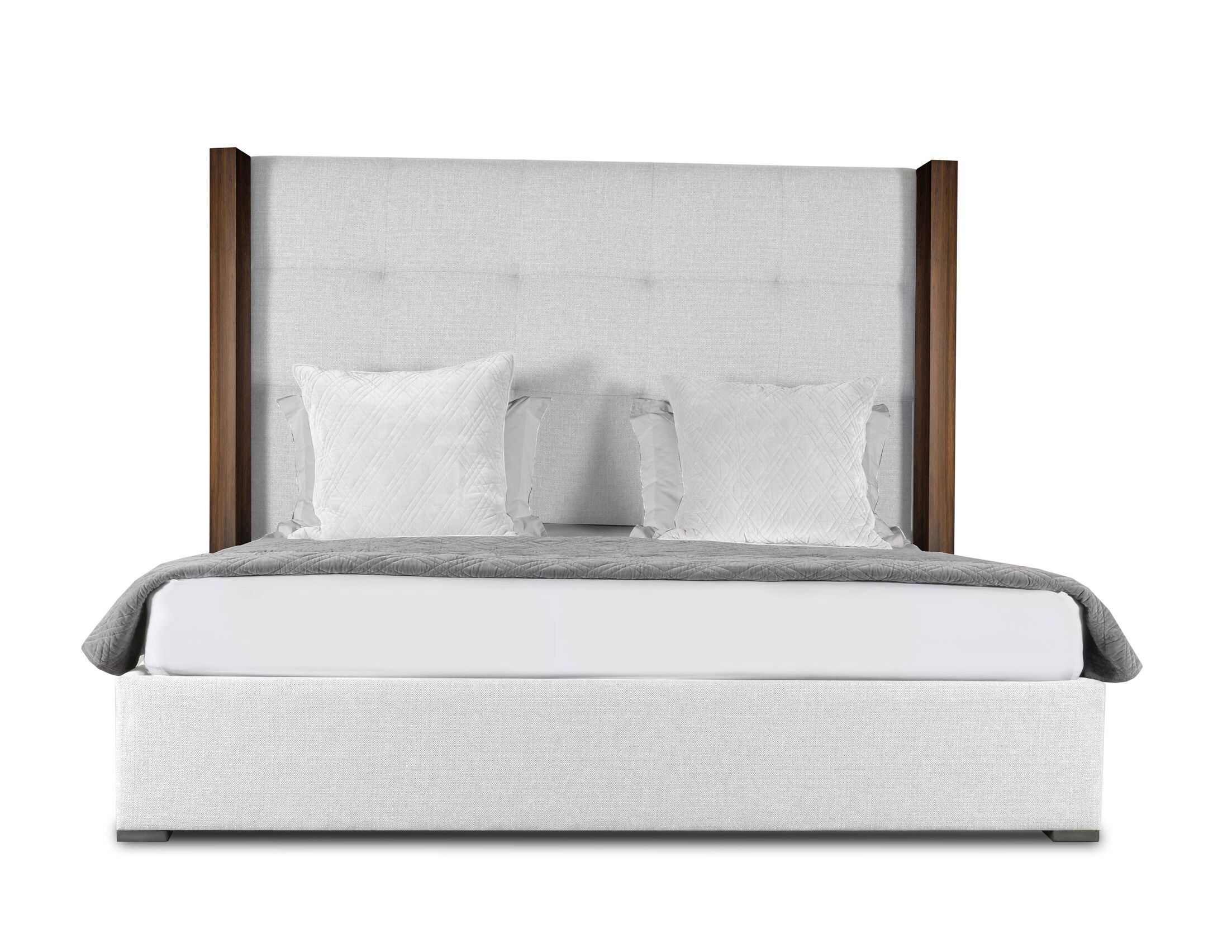 Harborcreek Button Tufted Upholstered Platform Bed Size: Mid Height King, Color: White