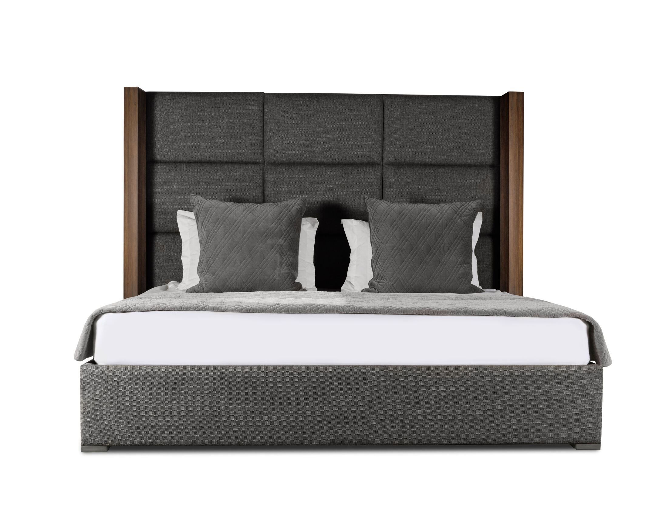 Harborcreek Upholstered Platform Bed Color: Charcoal, Size: High Height California King