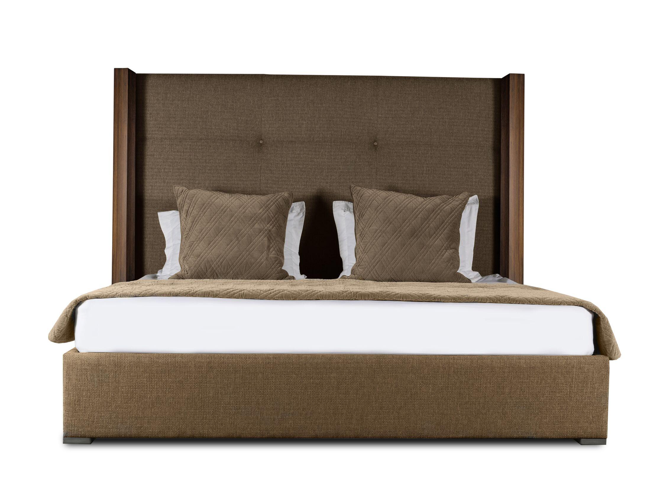 Harborcreek Upholstered Platform Bed Color: Brown, Size: Mid Height California King