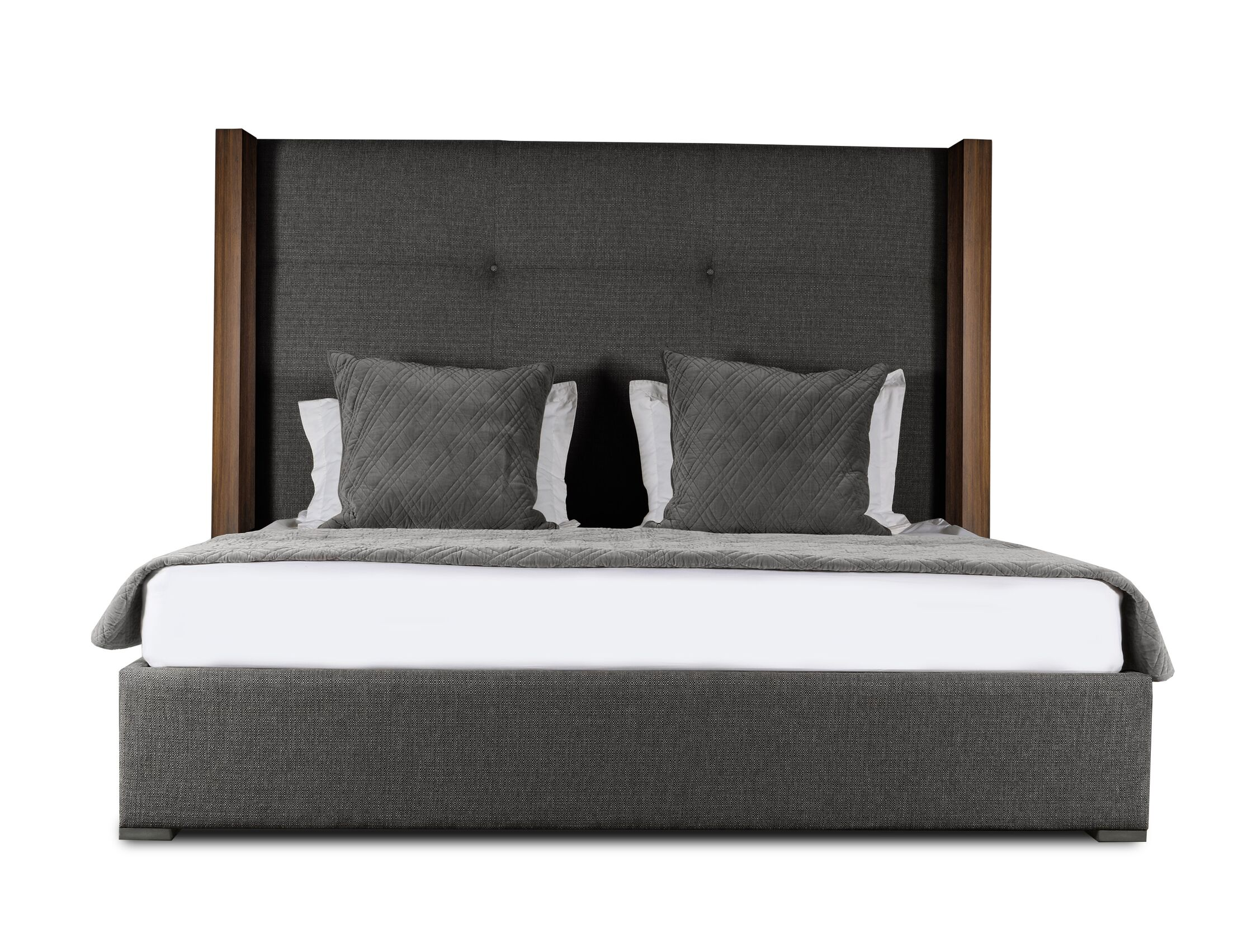 Harborcreek Upholstered Platform Bed Color: Charcoal, Size: Mid Height California King
