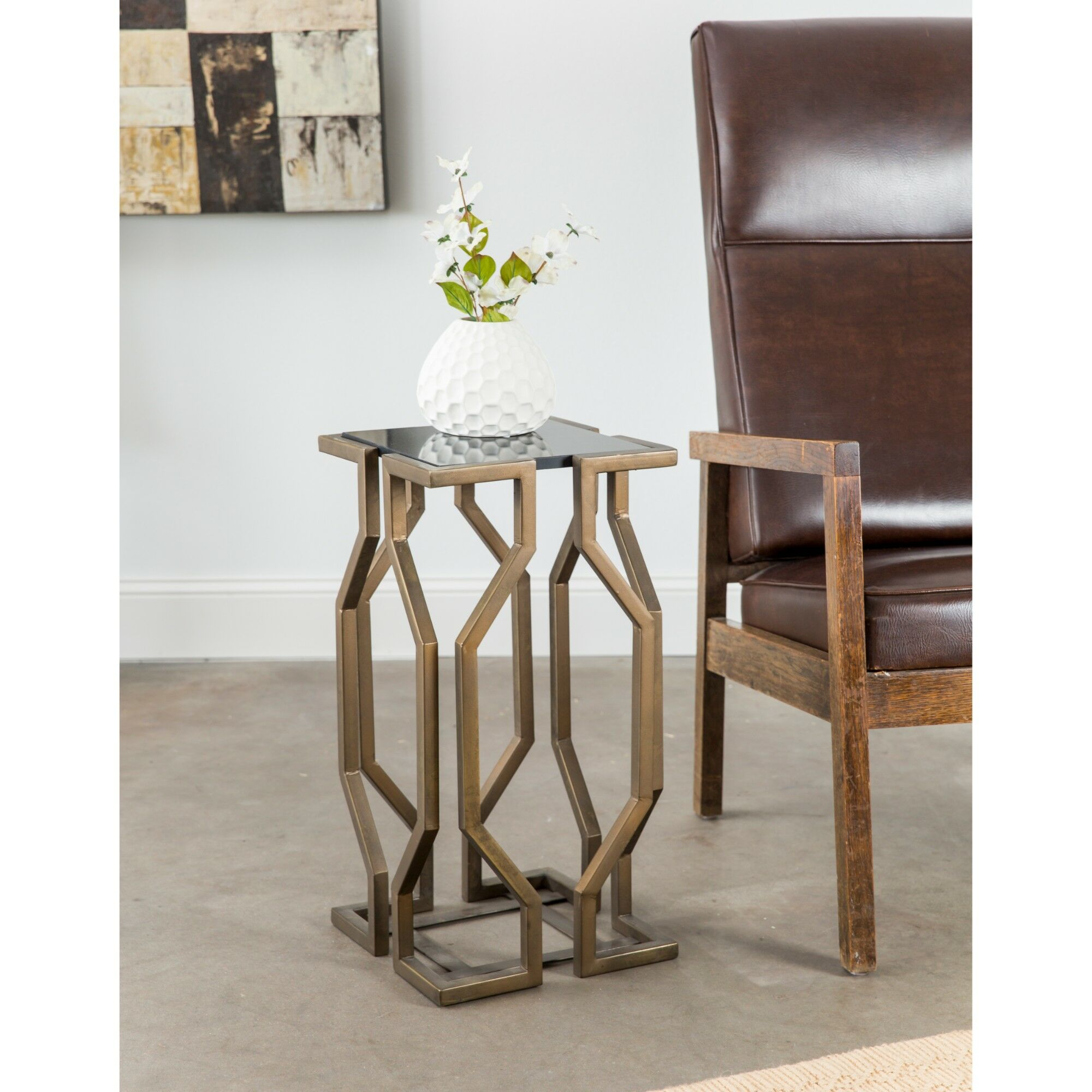 Lundstrom Geometric End Table Color: Brass