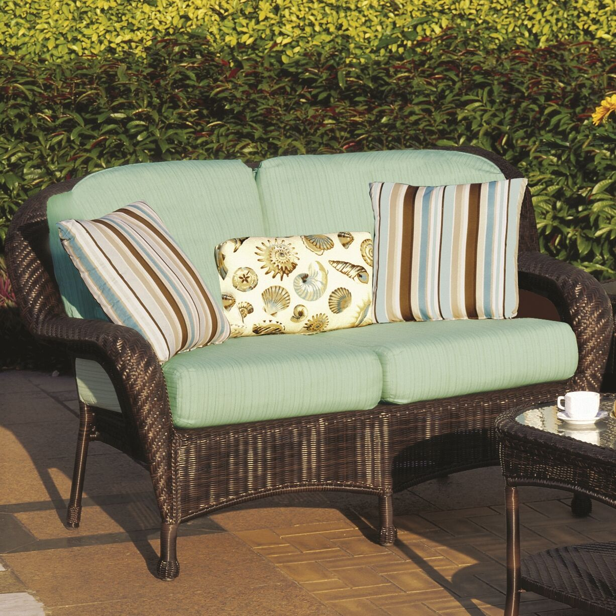 Emestine Key West Loveseat with Cushions Color: Cast Silver