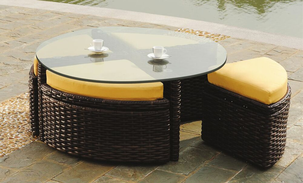 Losey Round Sushi Table with Ottomans Color: Espresso, Cushion Color: Pool