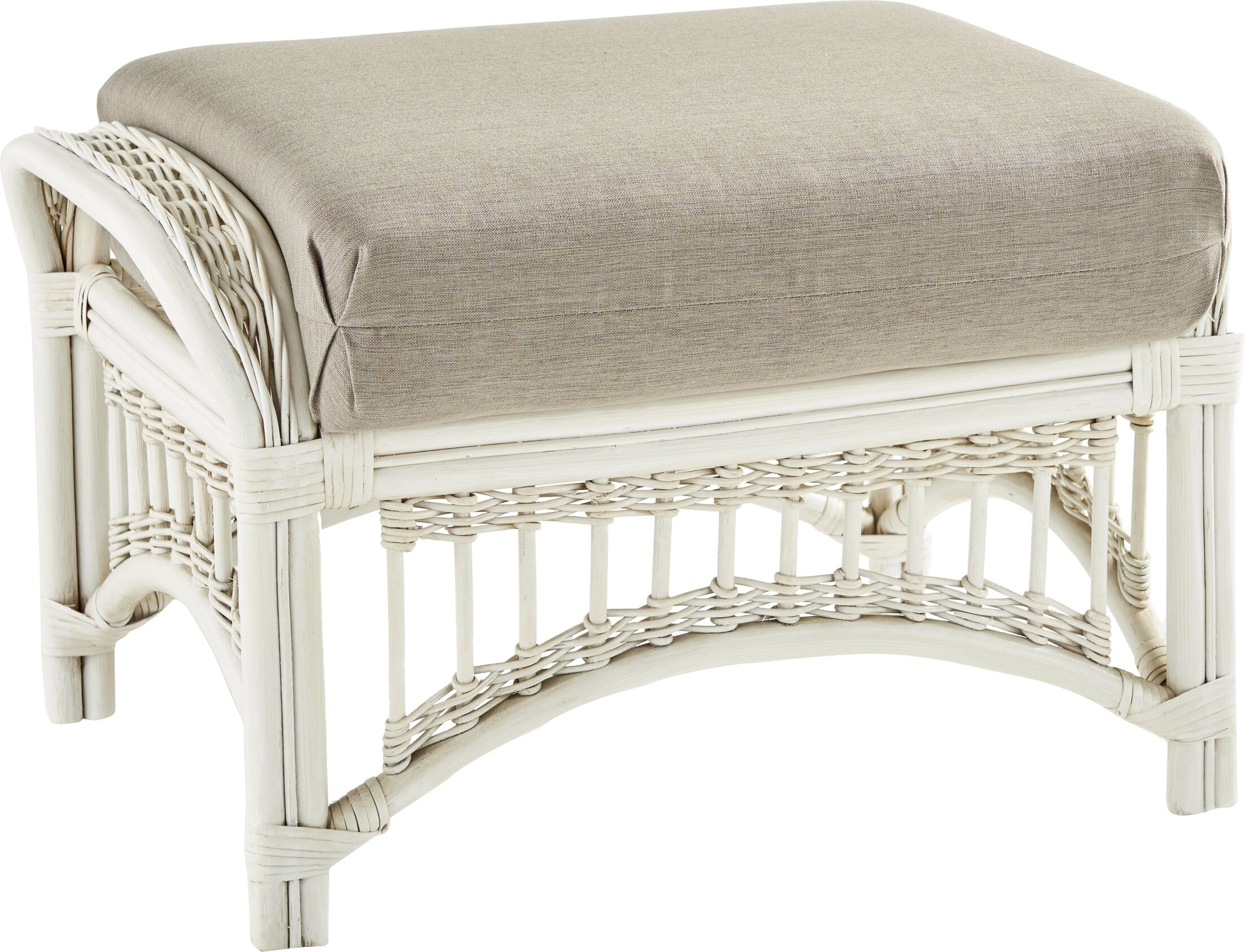 Staats Ottoman with Cushion Finish: Whitewash, Fabric: Hubbard Tomato