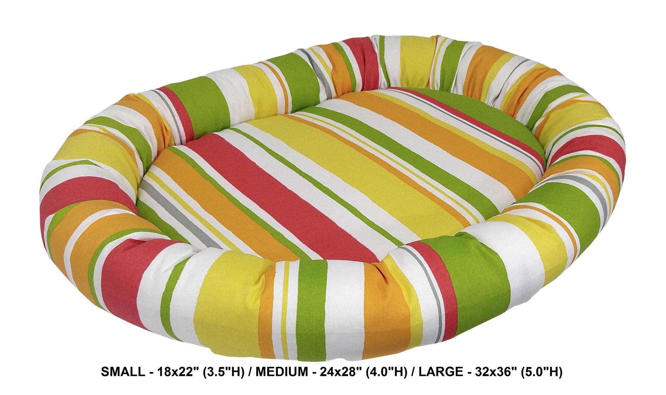 Nadia Stripe Indoor/Outdoorl Bolster Dog Bed Color: Poppy, Size: Super (32