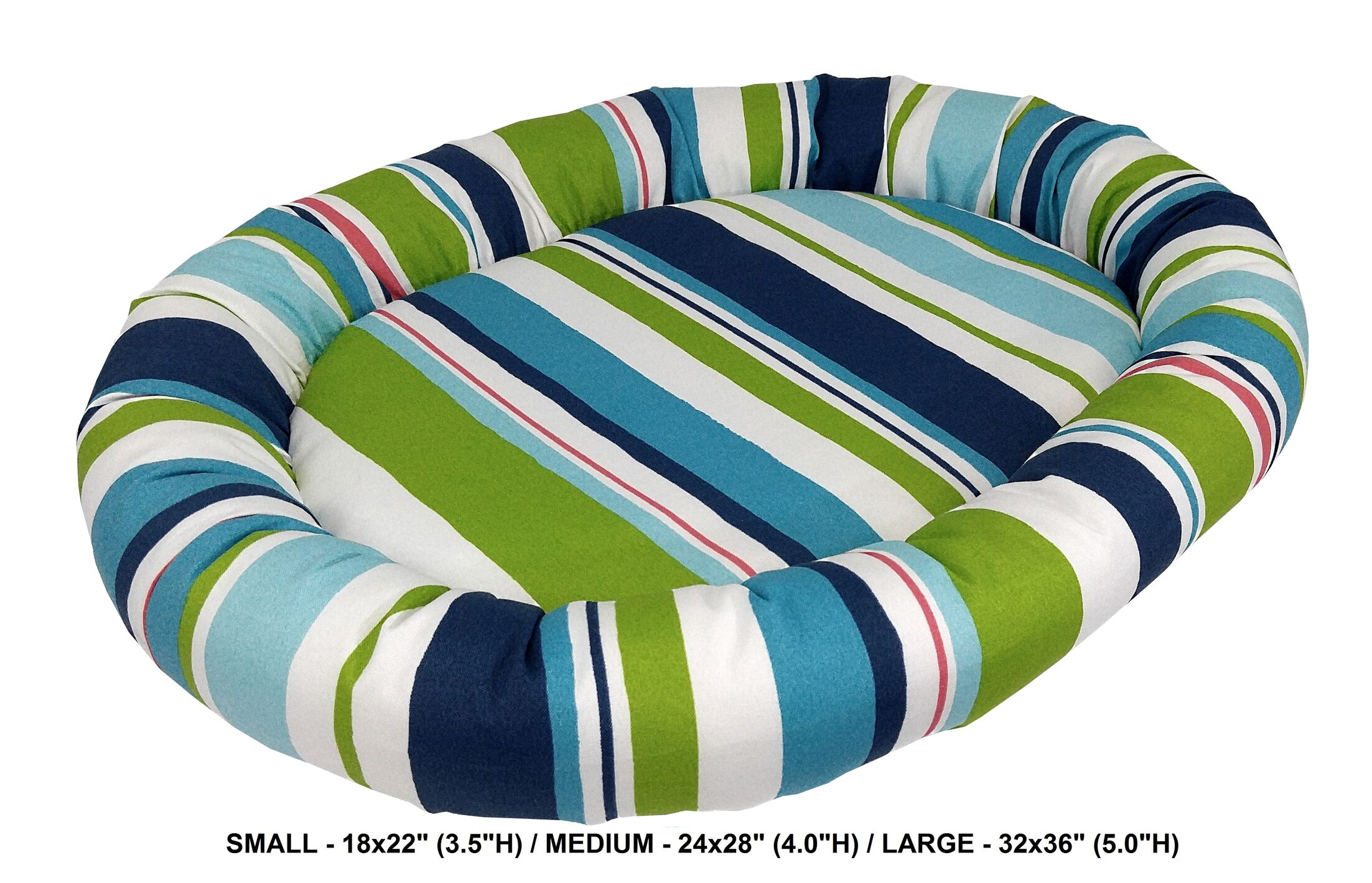 Nadia Stripe Indoor/Outdoorl Bolster Dog Bed Color: Turquoise, Size: Small (24