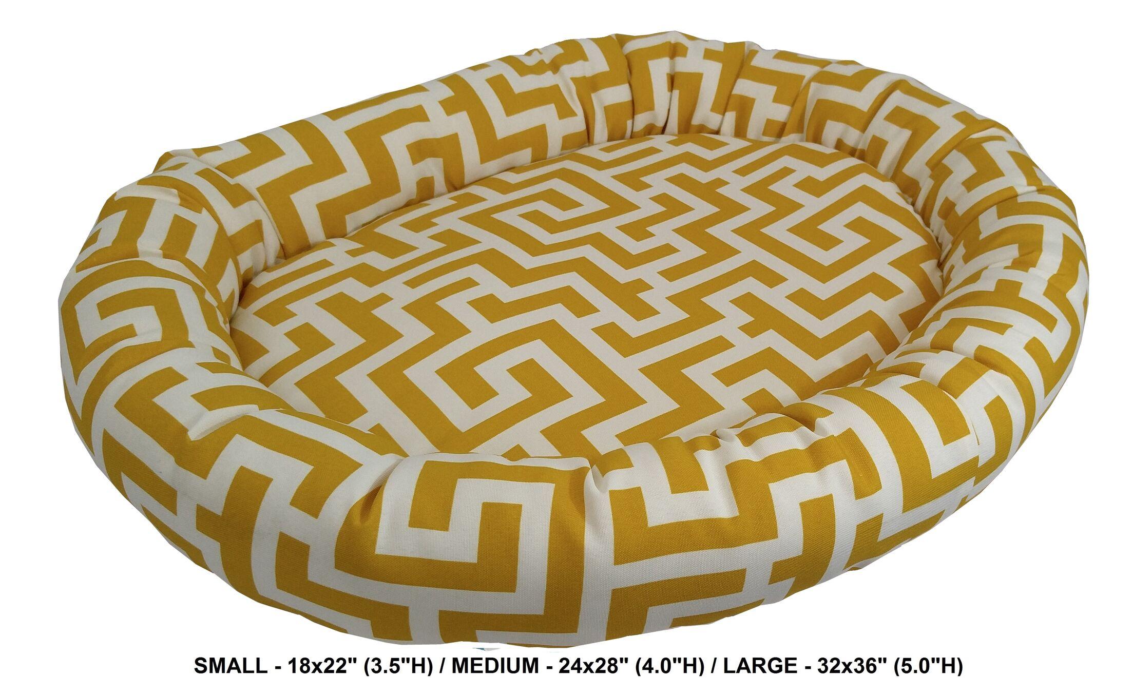 Corrine Keys Indoor/Outdoor Bolster Pet Bed Color: Banana, Size: Large