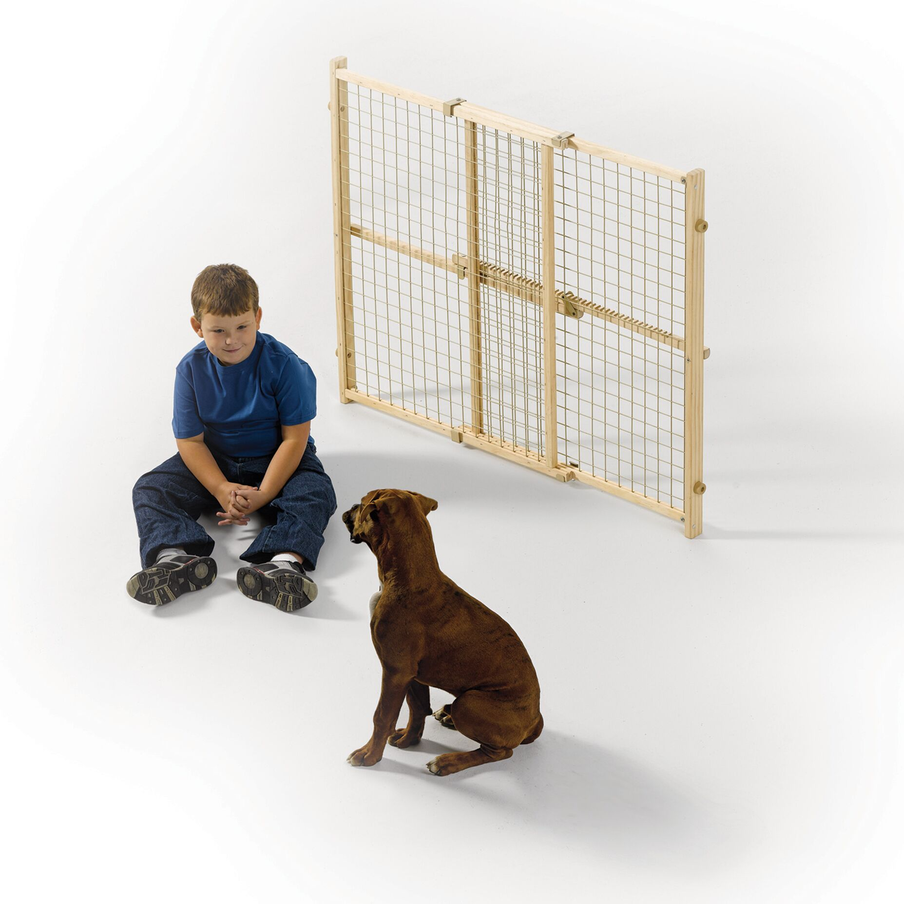 Wood Wire Mesh Pet Gate Size: 32