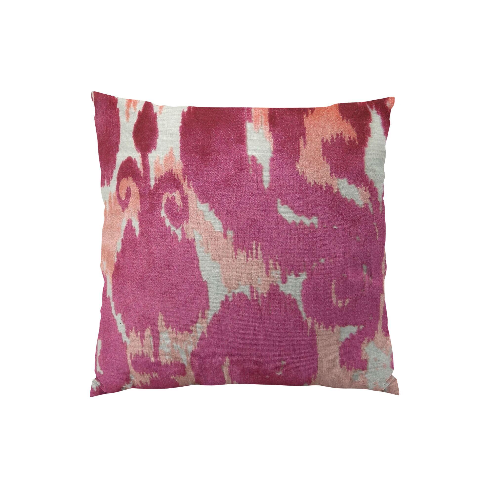 Velvet Bliss Coral Handmade Throw Pillow Size: 16