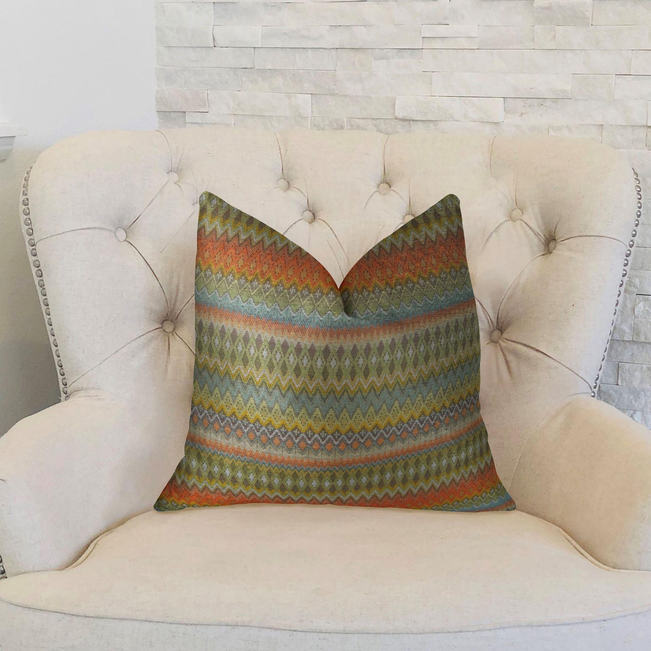 Zig Along Handmade Throw Pillow Size: 20