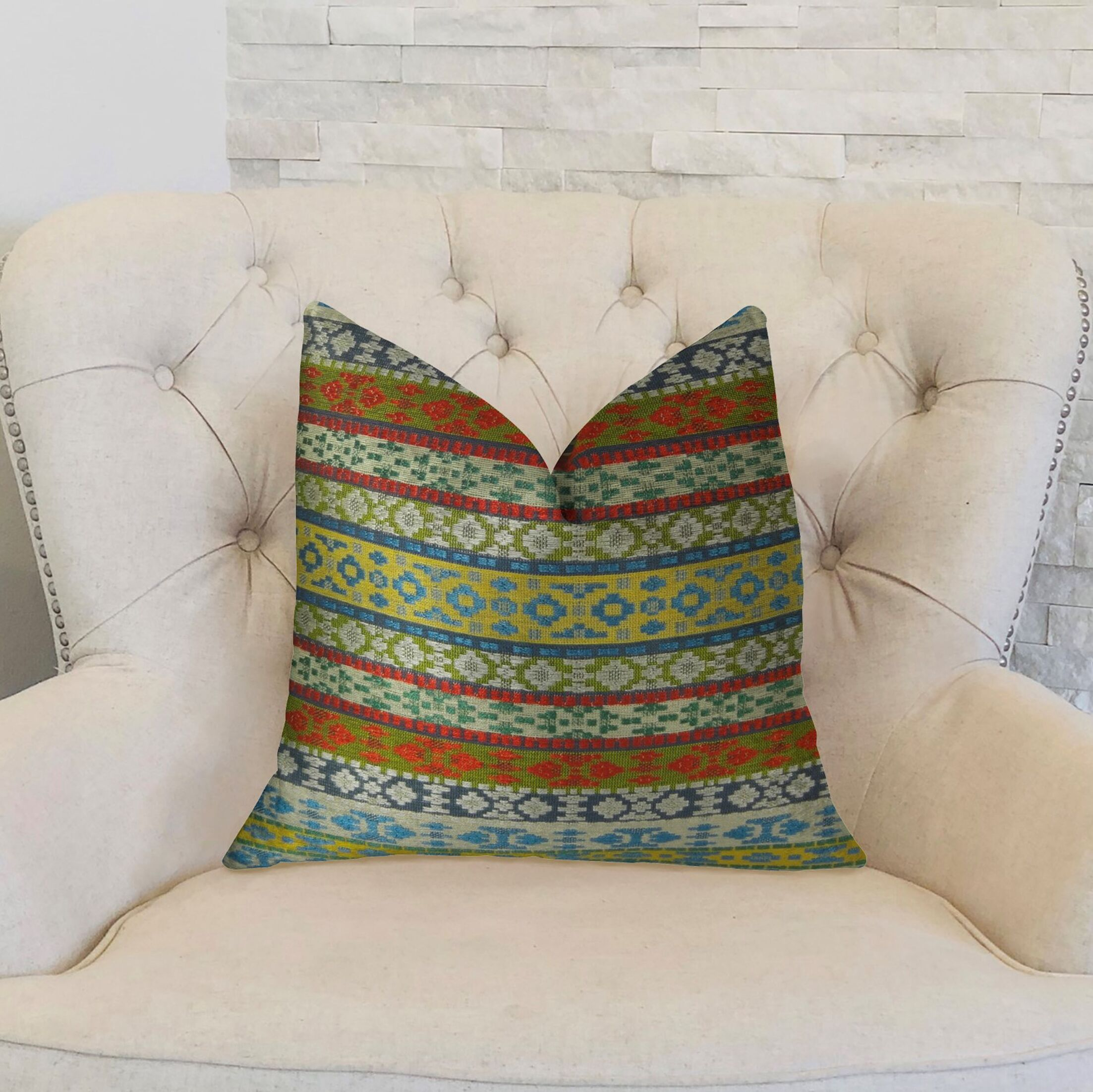 Fun Stripes Handmade Throw Pillow  Size: 22